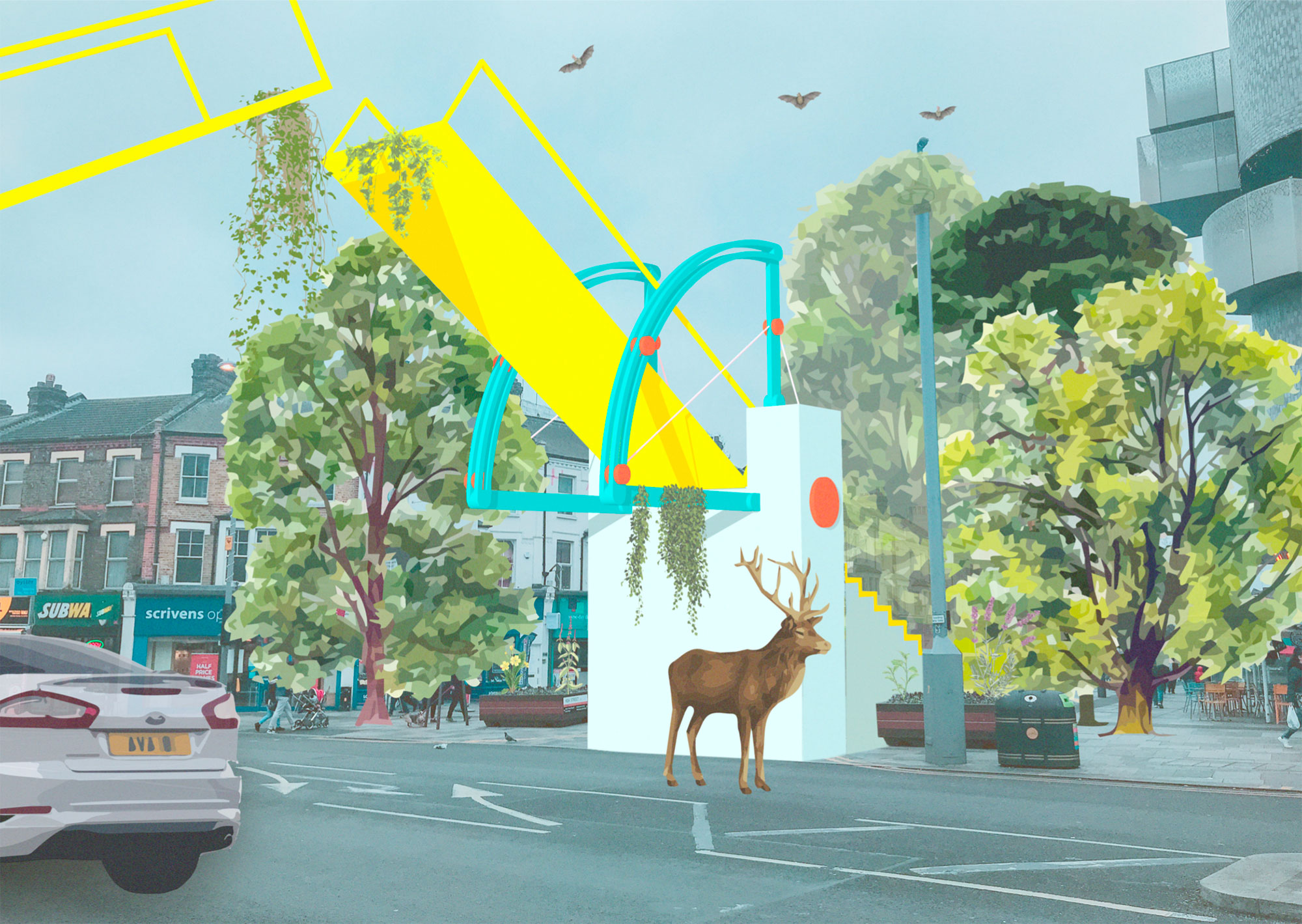 A drawbridge is one of a series of imagined interventions that create a new journey through the borough.