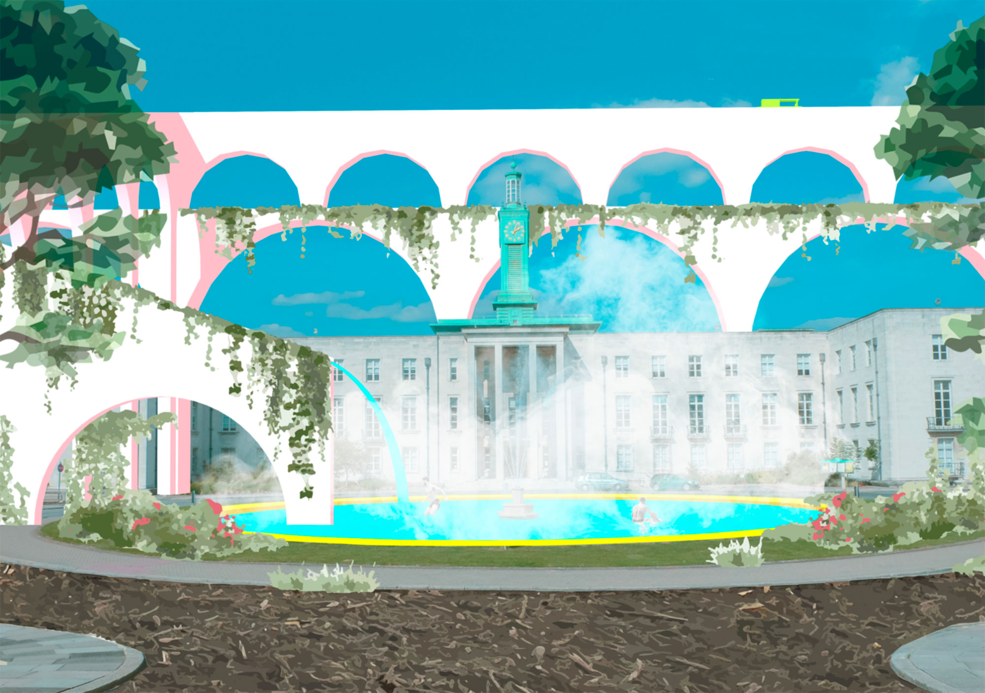 A communal baths outside the City Hall is one of a series of imagined interventions that create a new journey through the borough.
