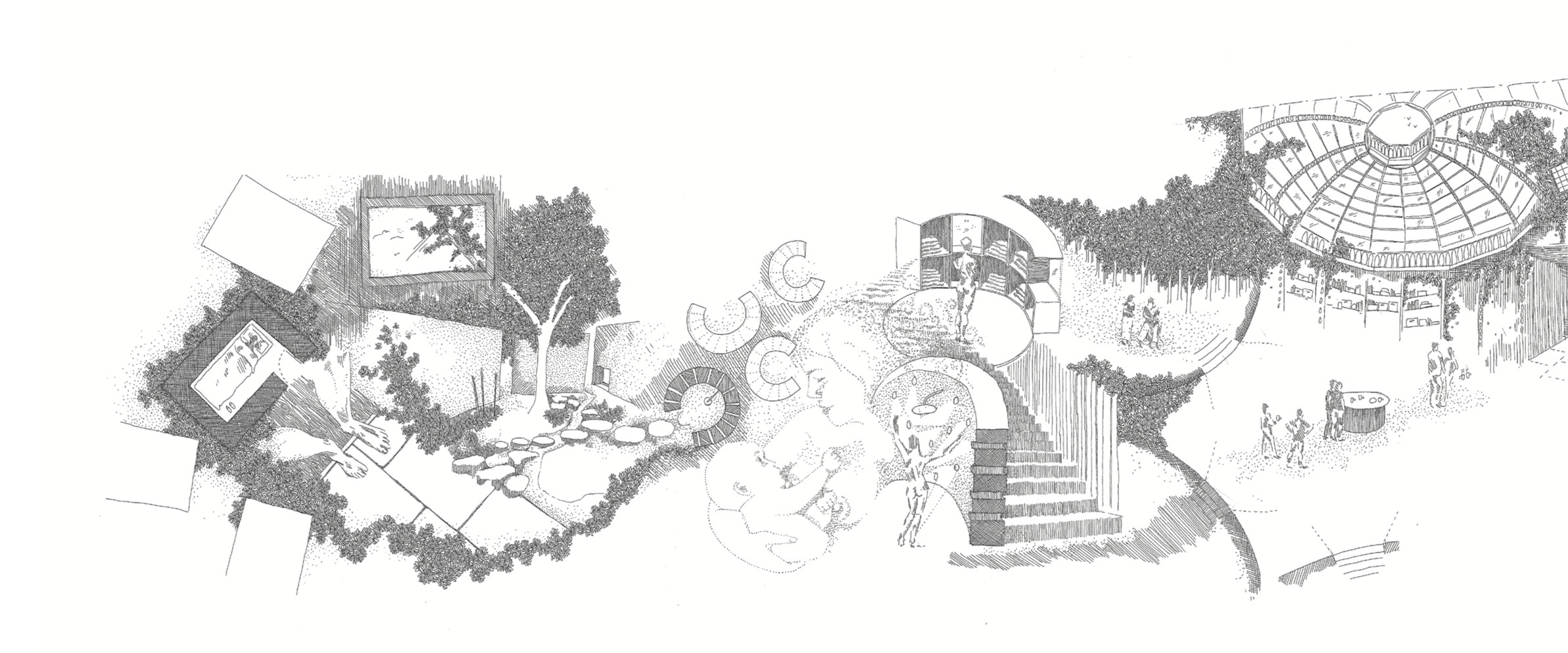 Drawing used to describe the day of a resident within her dwelling.