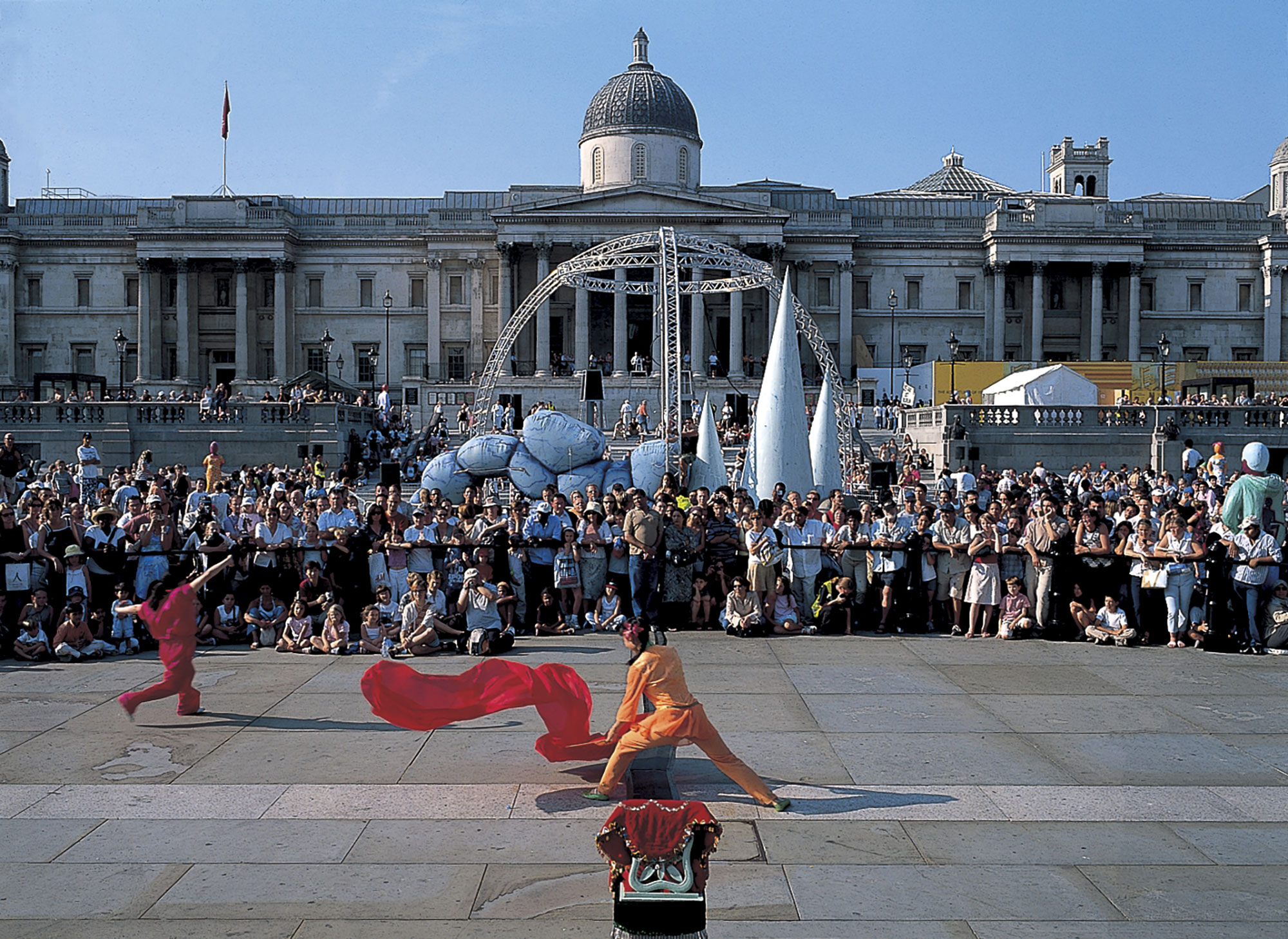 Trafalgar Square also now hosts art shows and is used for impromptu performances. Credit Nigel Young, Foster + Partners