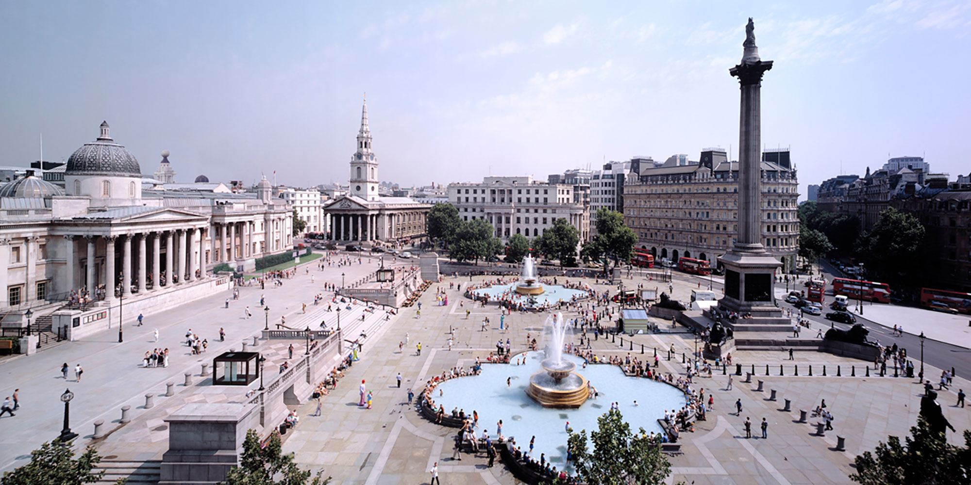 Trafalgar Square with pedestrianised street in front of  National Gallery and new central square facilitating diagonal movement across square.Credit Nigel Young, Foster + Partners