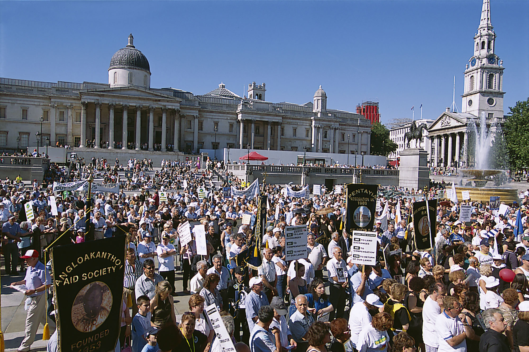 Trafalgar Square is now a popular site for public protest. Credit Nigel Young, Foster + Partners