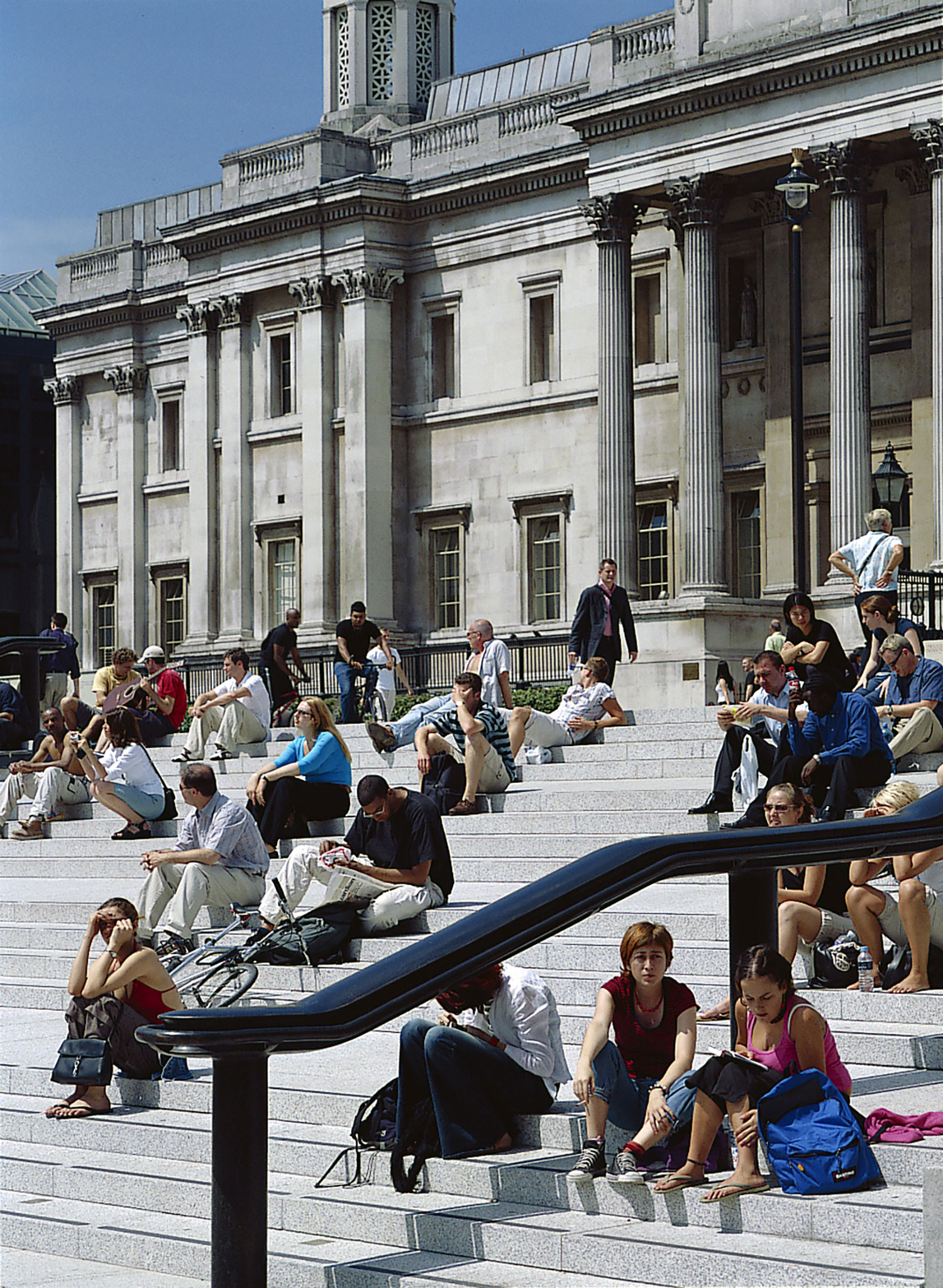 Squares to the National Gallery are today a meeting and resting place for many. Credit Nigel Young, Foster + Partners