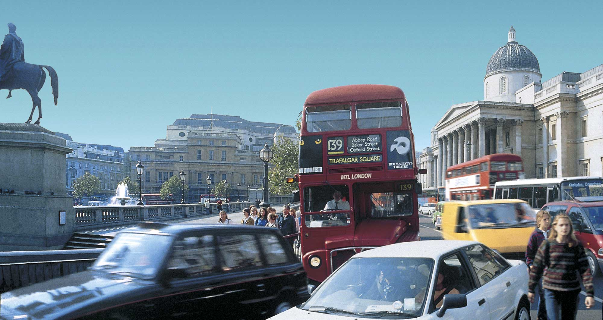Trafalgar Square before its transformation (see next image for after). Credit Nigel Young, Foster + Partners