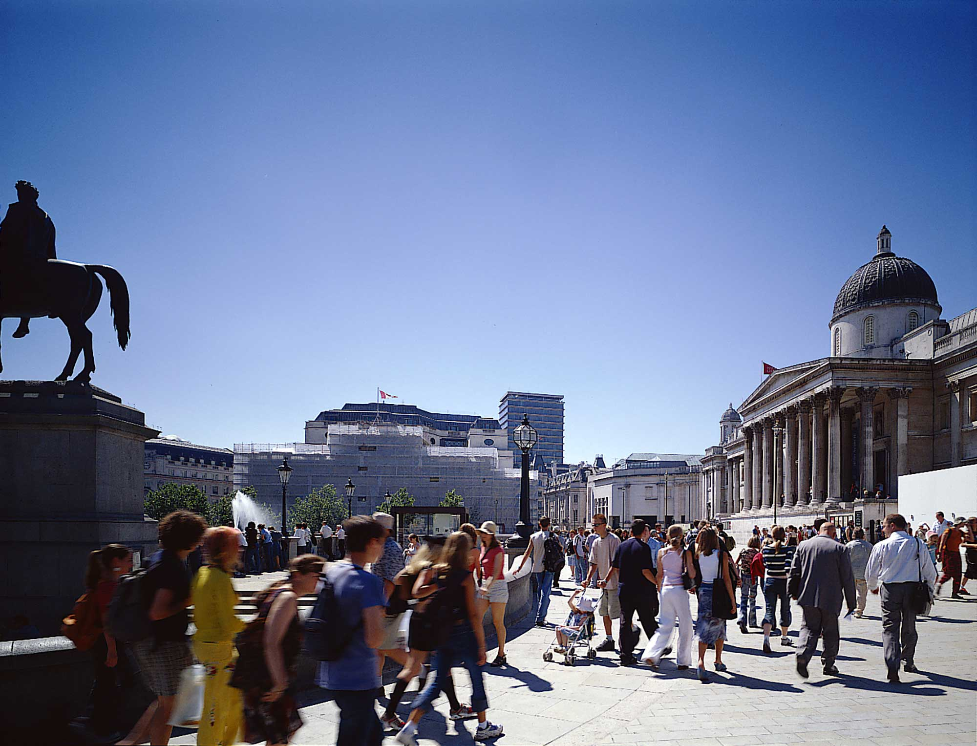 Trafalgar Square after its transformation. Credit Nigel Young, Foster + Partners