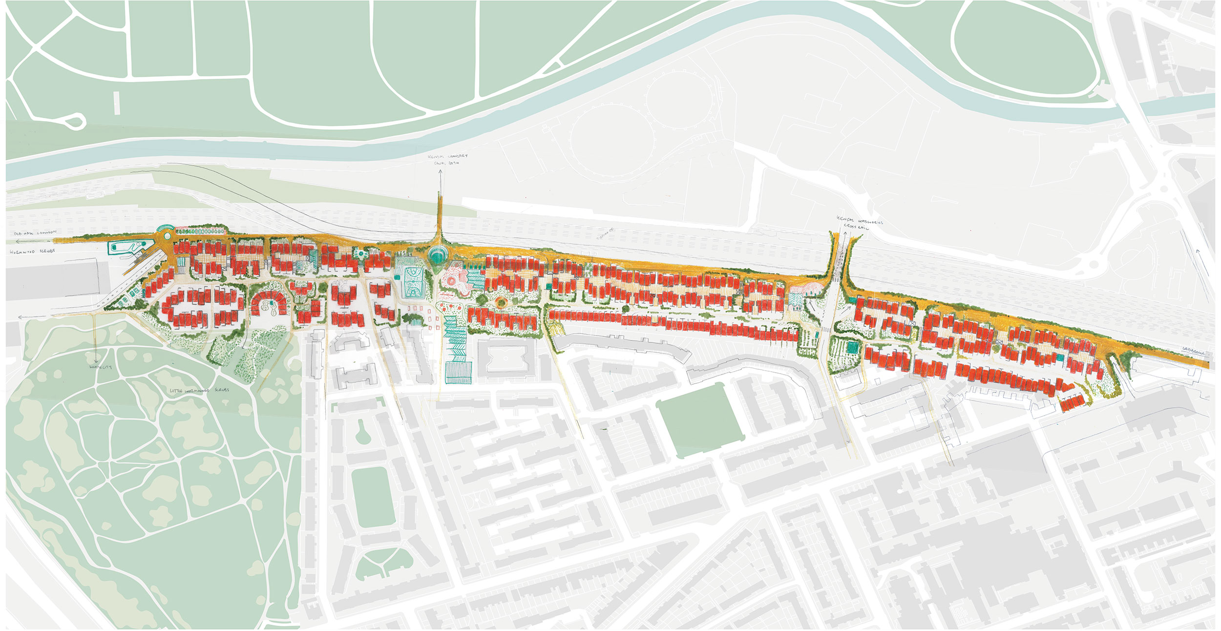Masterplan showing how the site can be broken down to a much tighter urban grain, allowing the site to be portioned into smaller development plots for community groups or housing cooperatives.