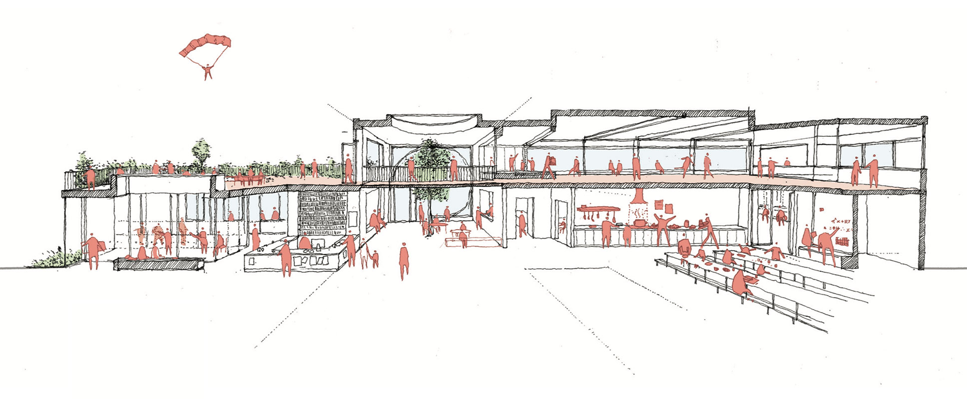 Section showing double-height entrance foyer with Suzuki music school to the left and community kitchen and dining space to the right.
