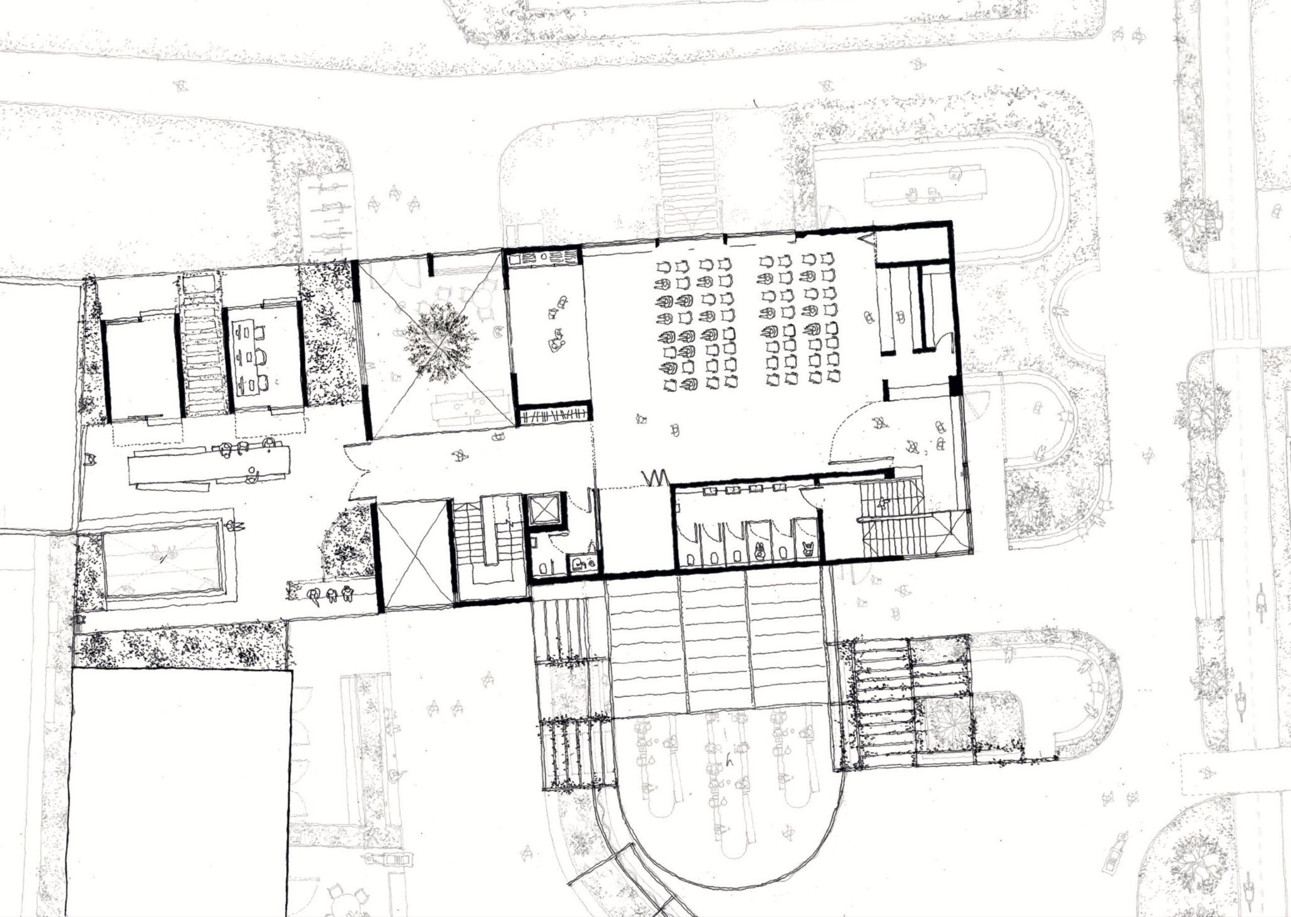 Proposed first floor plan showing community hall to  the right and bridge leading to rooftop garden with pop-up recording studios and pirate radio stations