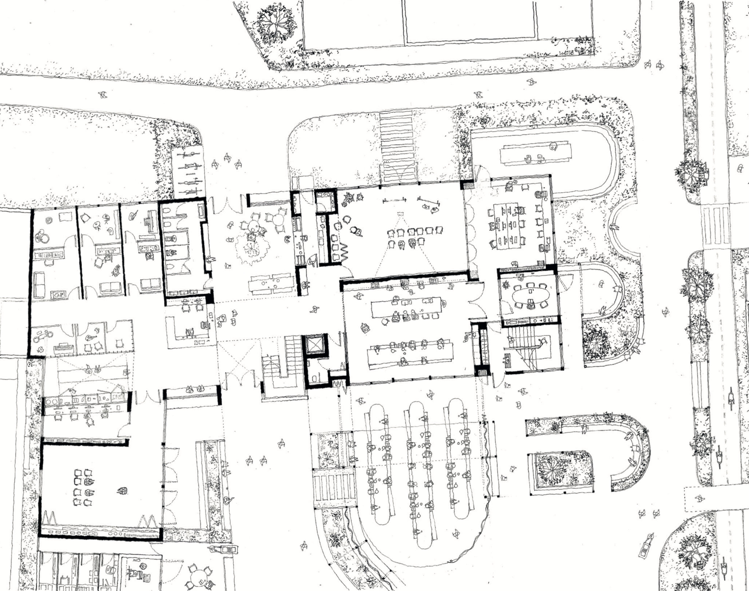 Proposed ground floor plan showing entrance atrium with community rooms to the right and music school  to the left.