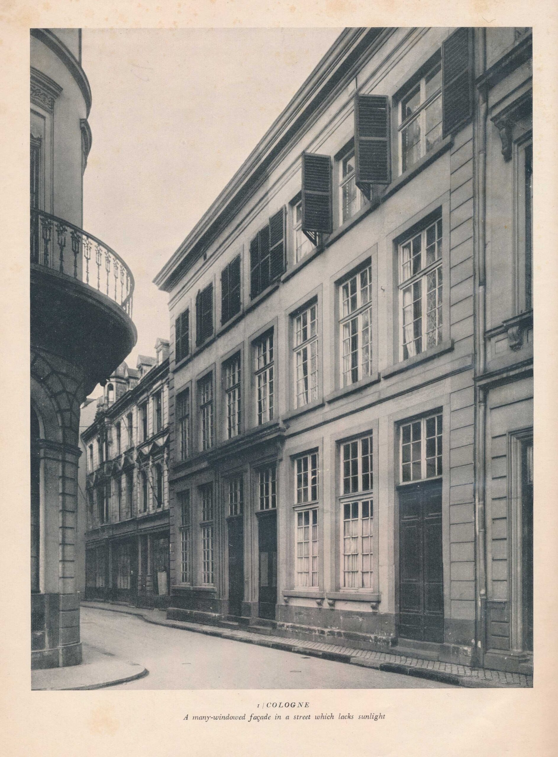 Werner Hegemann, Façades: Fronts of Old and Modern Business and Dwelling Houses, 1929. In his collection of photographs of buildings, Hegemann was concerned about the street picture composed of varied façades. This illustration was chosen for his frontispiece, showing a building in Cologne with large windows to compensate for overshadowing of other buildings. Designs of this type, derived from the work of Karl Friedrich Schinkel, experienced a revival of popularity in Germany and England in the 1920s.