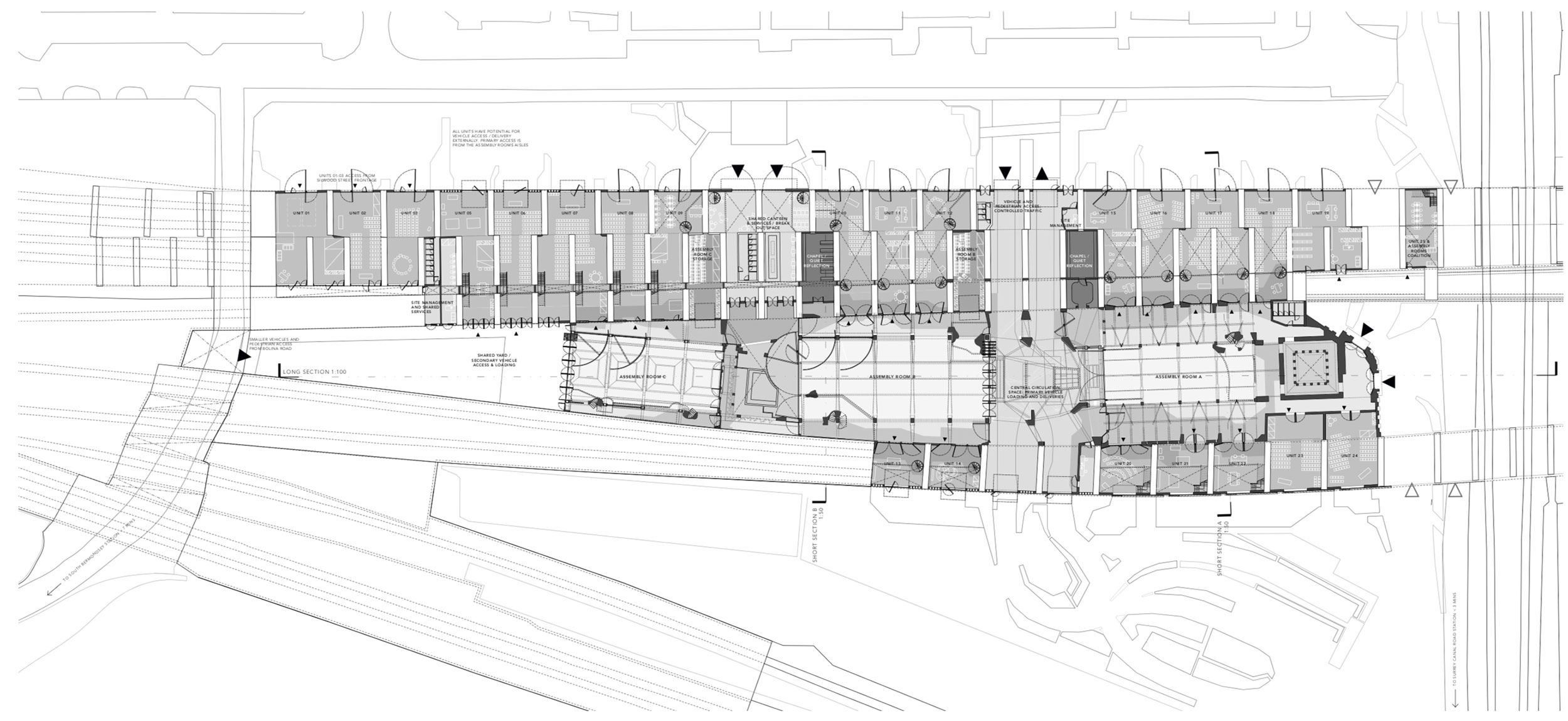 Ground floor plan showing indicative inhabitation of the viaduct units  by businesses and worship groups.