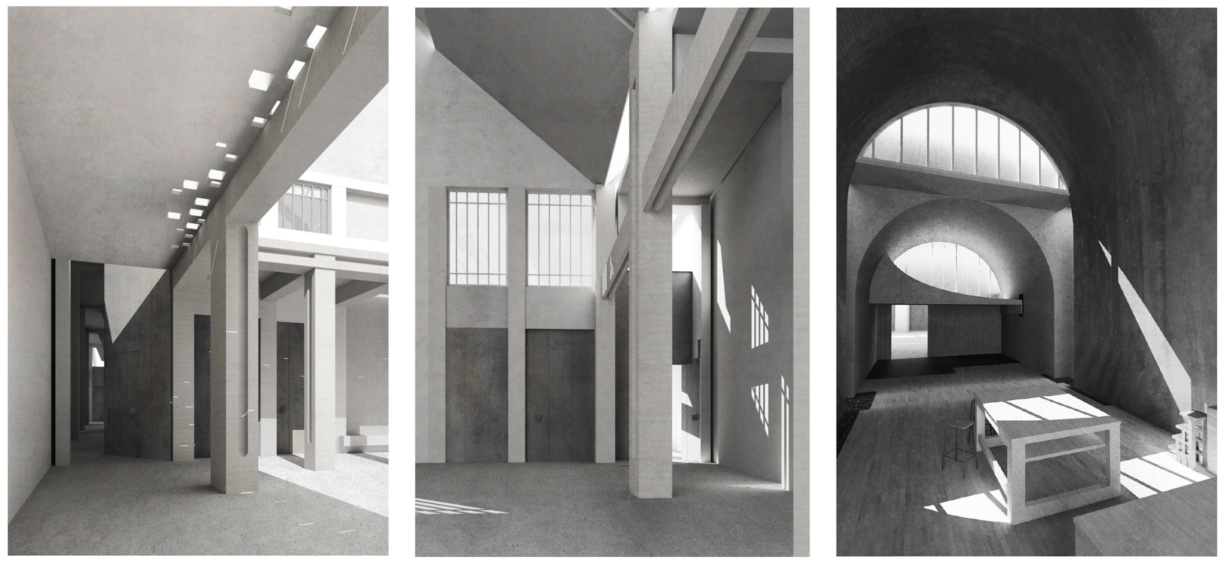 Different arch dimensions create spaces with different qualities of light. Right: perforated screens allow the space to be reconfigured in different ways.