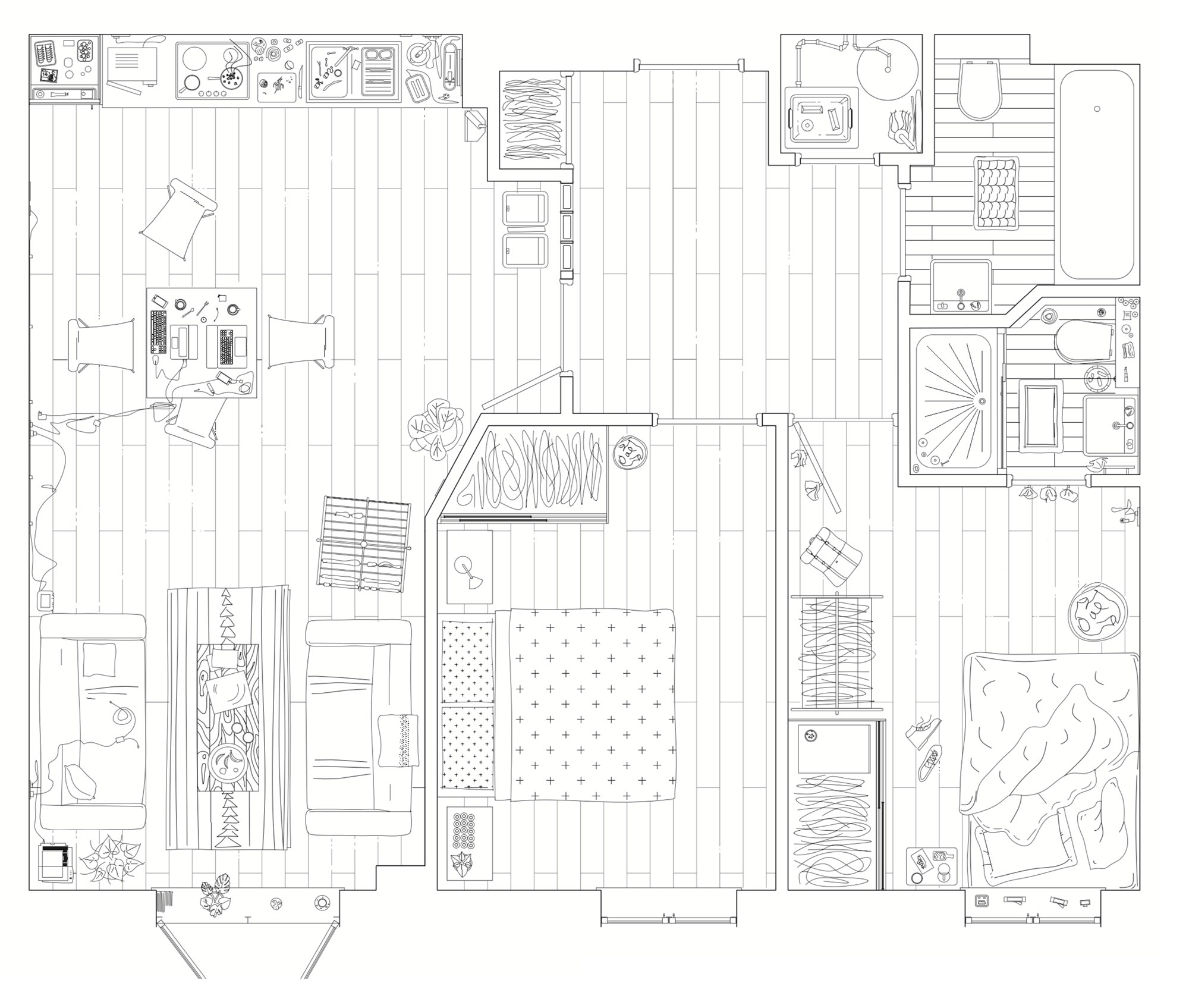 Think tank members mapped their own tenancies as a basis for unearthing tensions between the typically accepted necessities of  a home and the way they actually live. They unanimously concluded that a private living room could be sacrificed for a larger shared space.