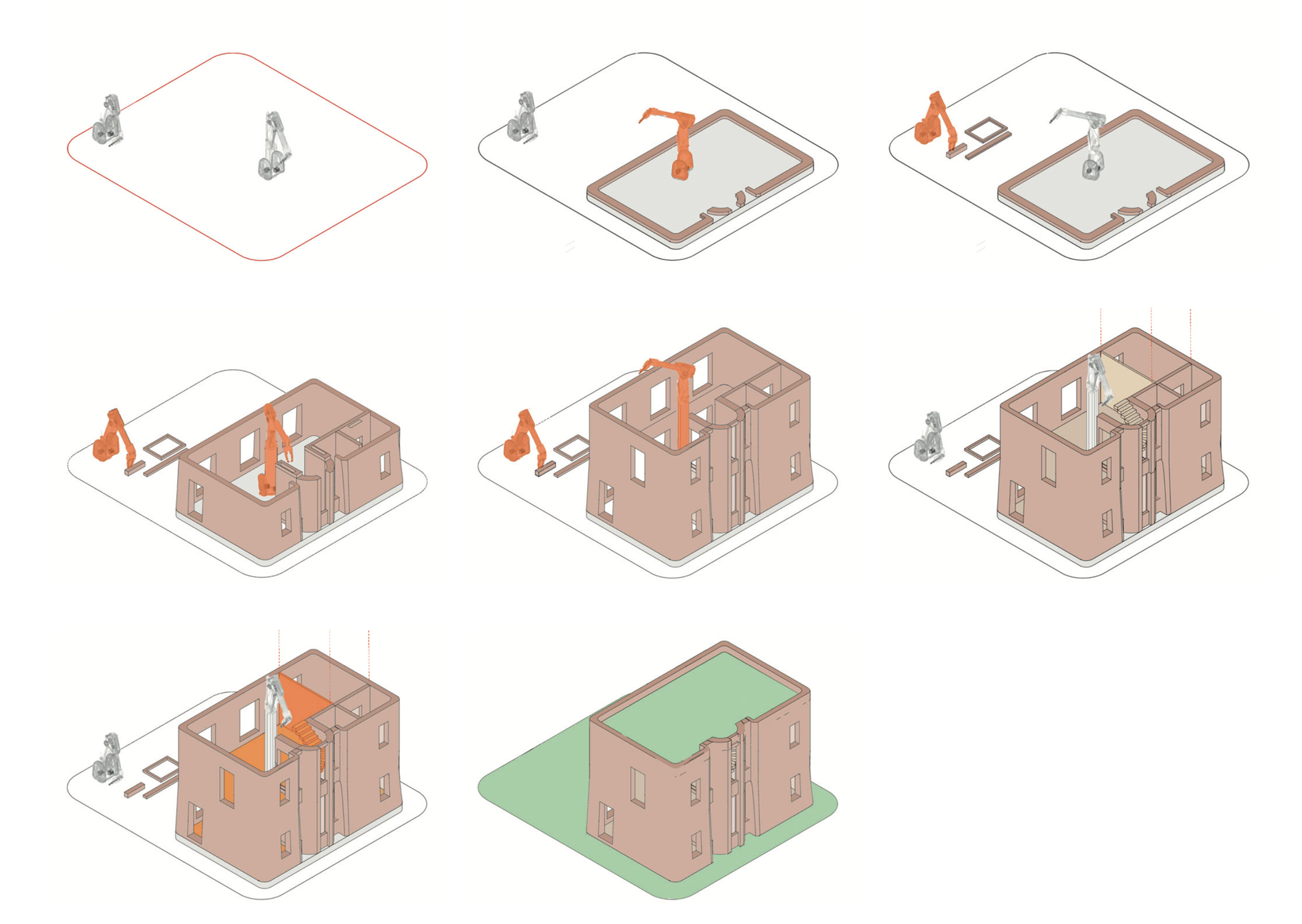 Diagrams showing the construction process using 3D printing construction technologies with CAD manufactured timber floors and walls.