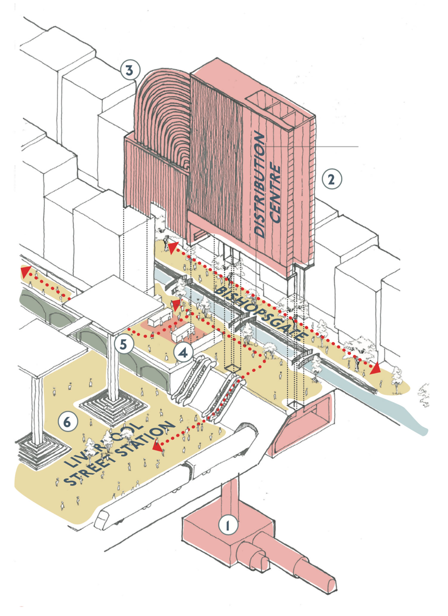 A landmark distribution centre is located  within Liverpool Street Station. The collection point is incorporated into the station entrance minimising disruption to day-to-day routine. The station becomes a new public space as changing work habits reduce the rush hour peak.