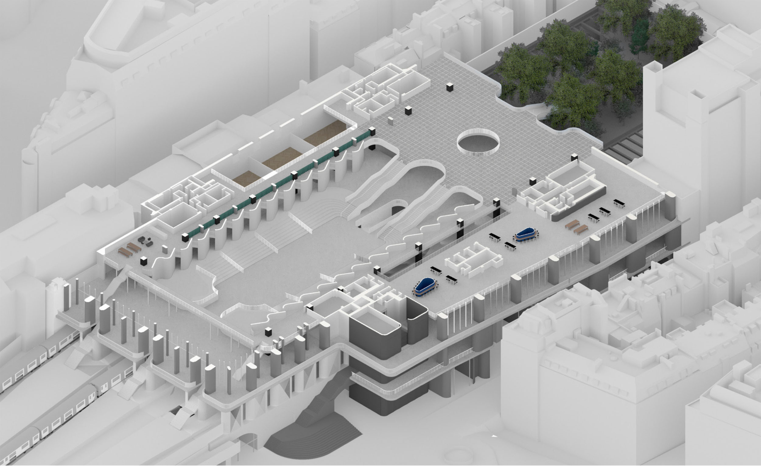 Ground floor axonometric section – the Hungerford Bridge meets an entirely  new ground floor  civic plaza offering  a space for conference, contemplation and movement through  the station.