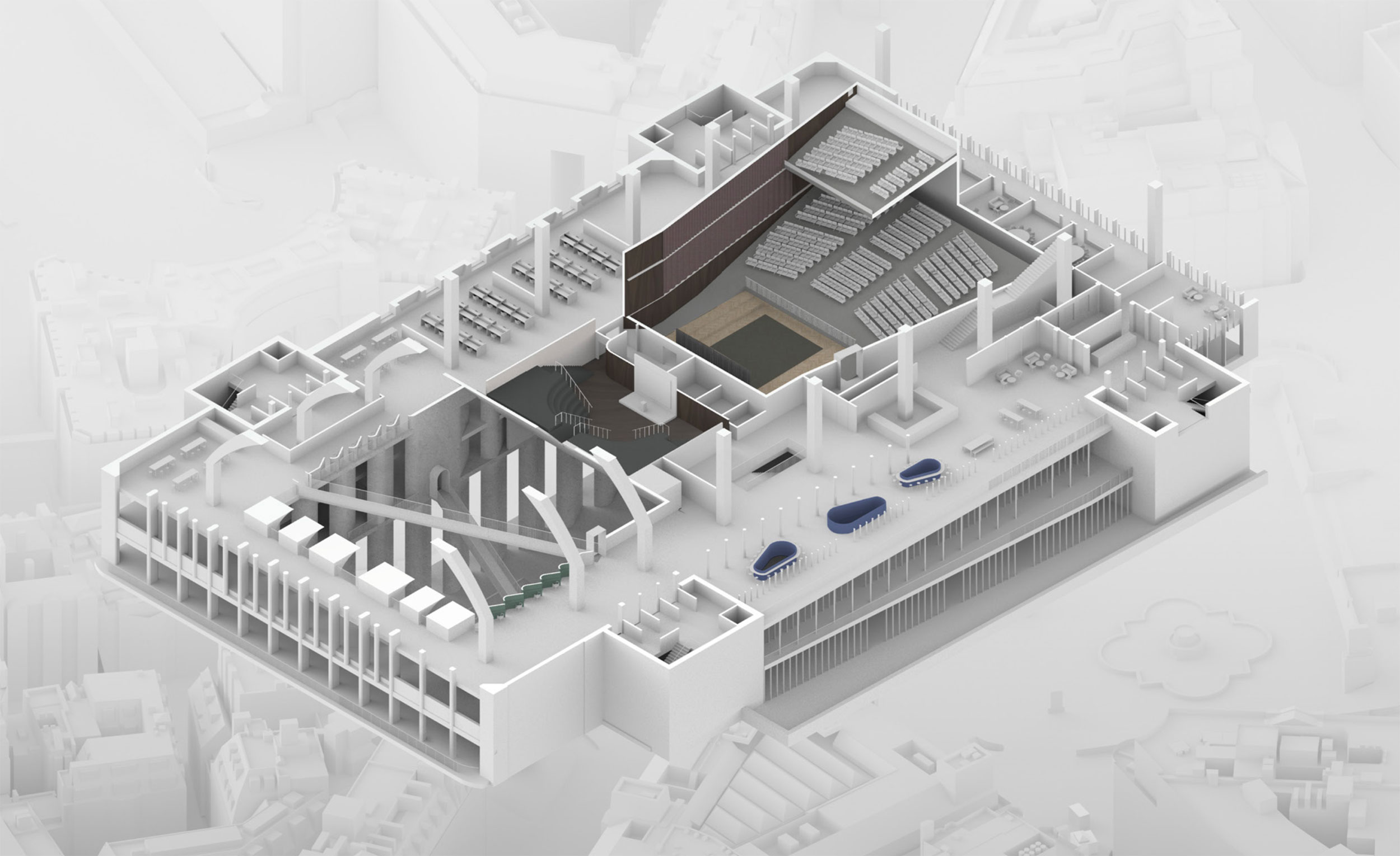 Upper floor axonometric section revealing the vaulted space above the main hall. Traditional and contemporary workspaces abut each other and surround spaces for learning.