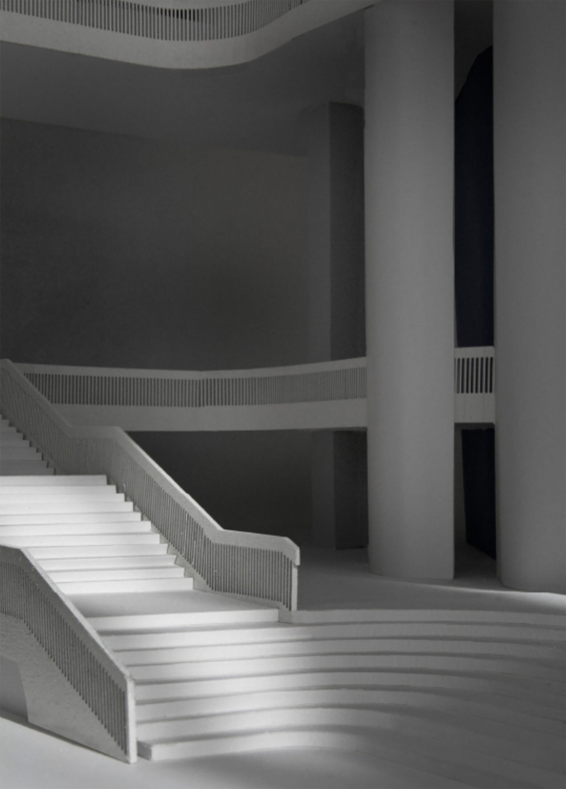 The most significant intervention into the existing building, the stairs  are modelled on stations like Grand Central and Milan.
