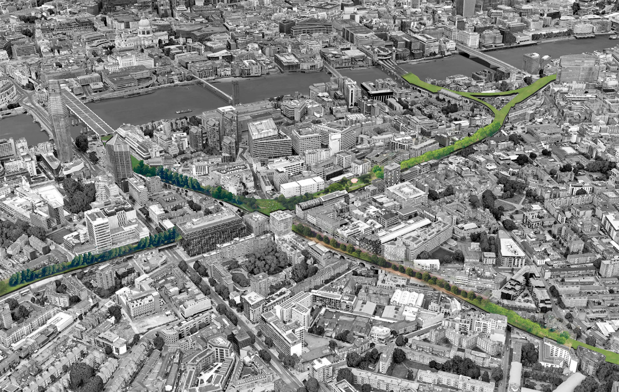 London's existing railway network could be transformed into a 'river of green' providing walking and cycling routes between major transport hubs.