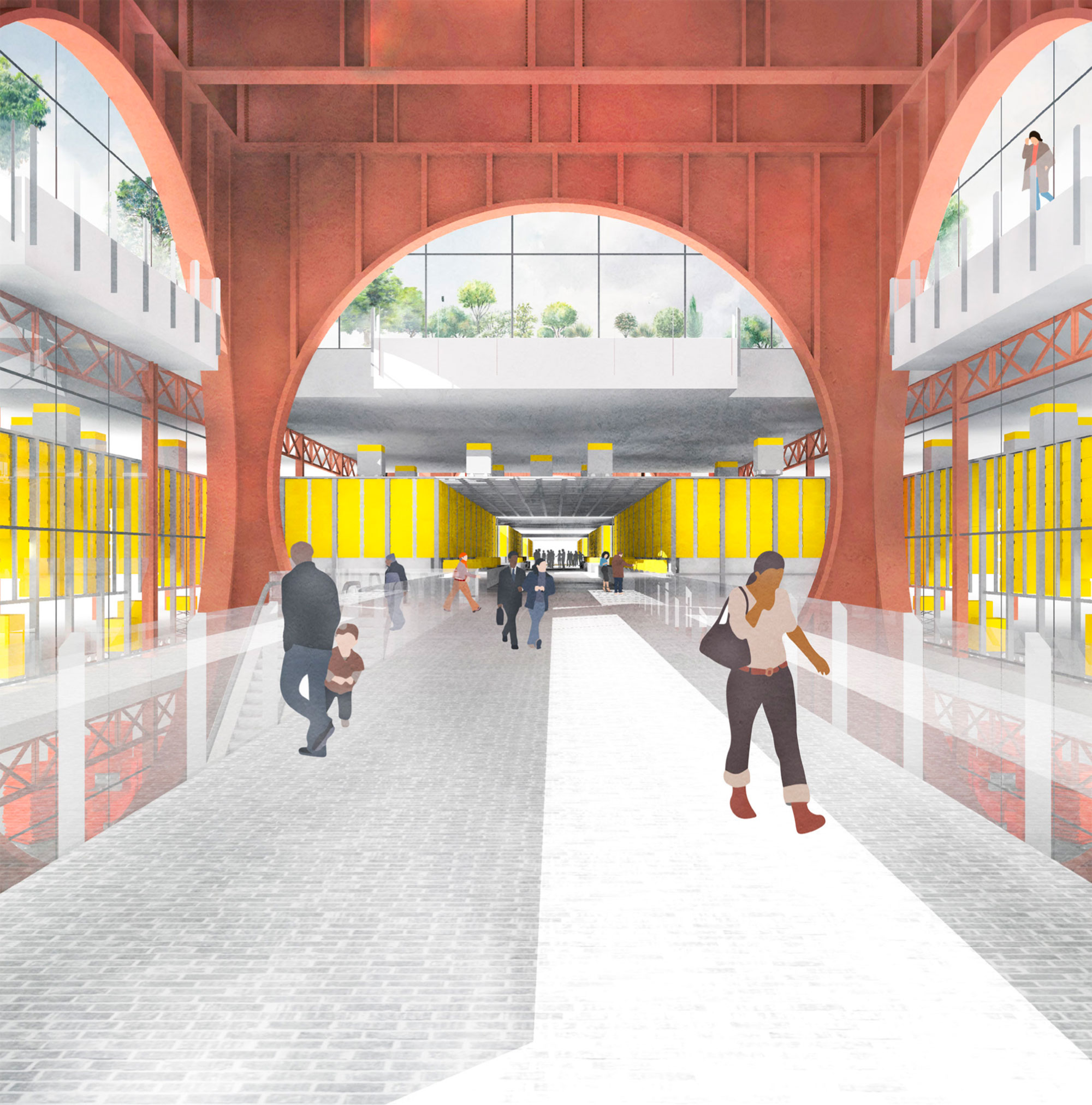 A public route through the consolidation centre reveals its infrastructure and provides access to workspaces, a new tube station and the roof park. Groceries and parcels can be picked up from self service points along the route.