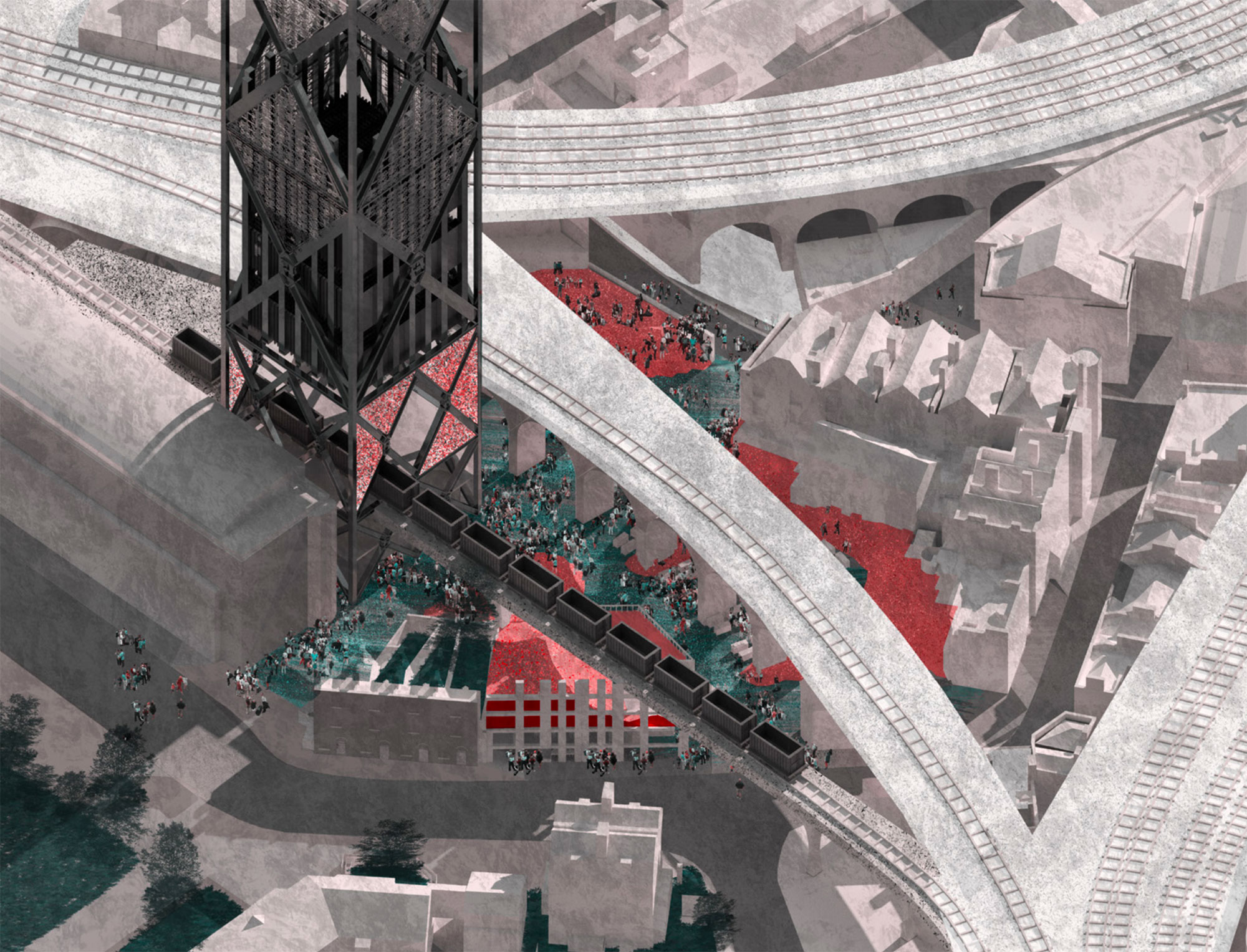 The tower occupies a tight site, creating new public spaces and pedestrian routes
