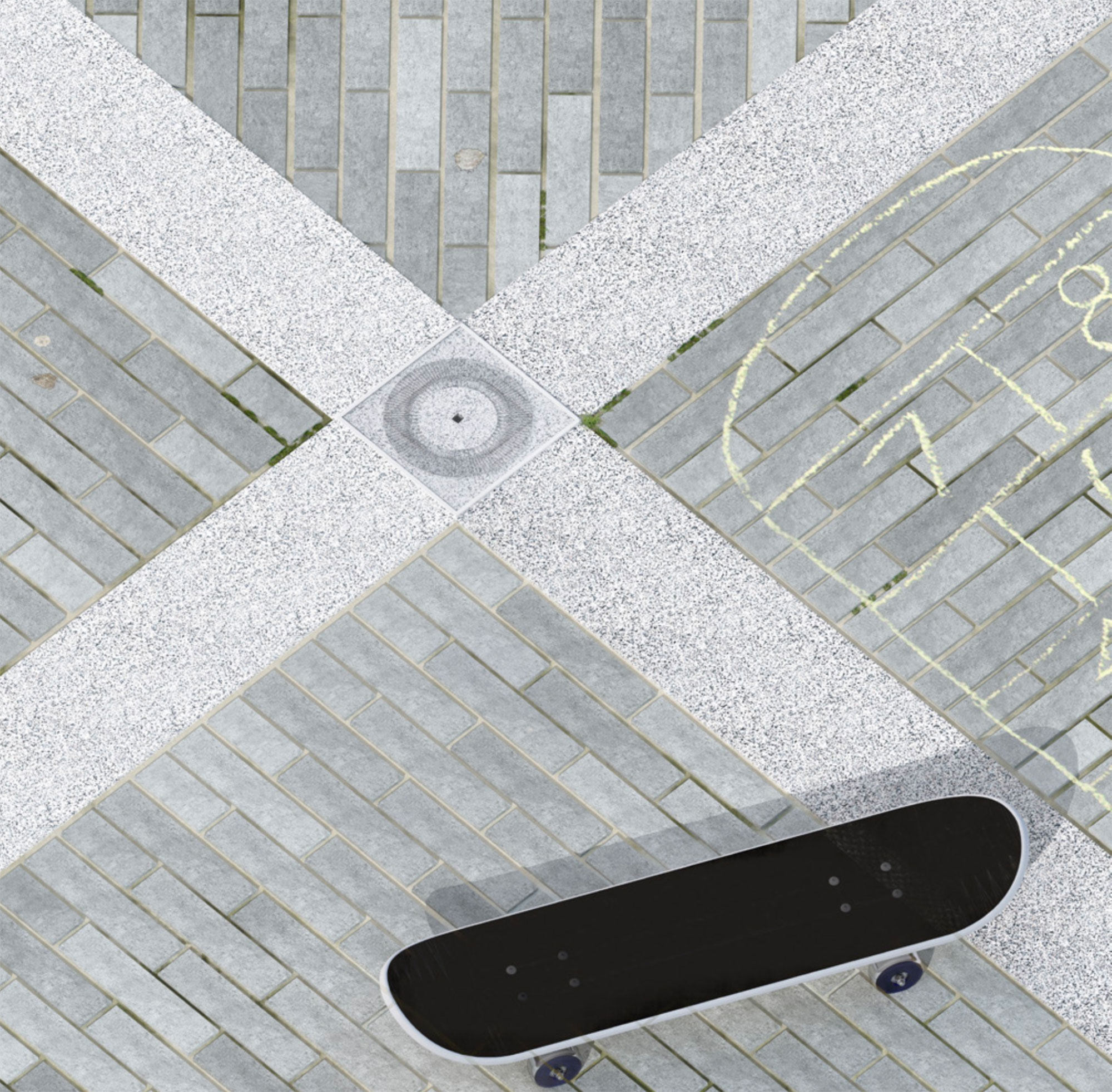 The proposal uses the materials associated with the conventional build up of the street but subverts their use. The kerb stone is turned on its axis to create a grid. At the meeting point of kerb stones a socket provides power and footing for buildings and furniture above ground.