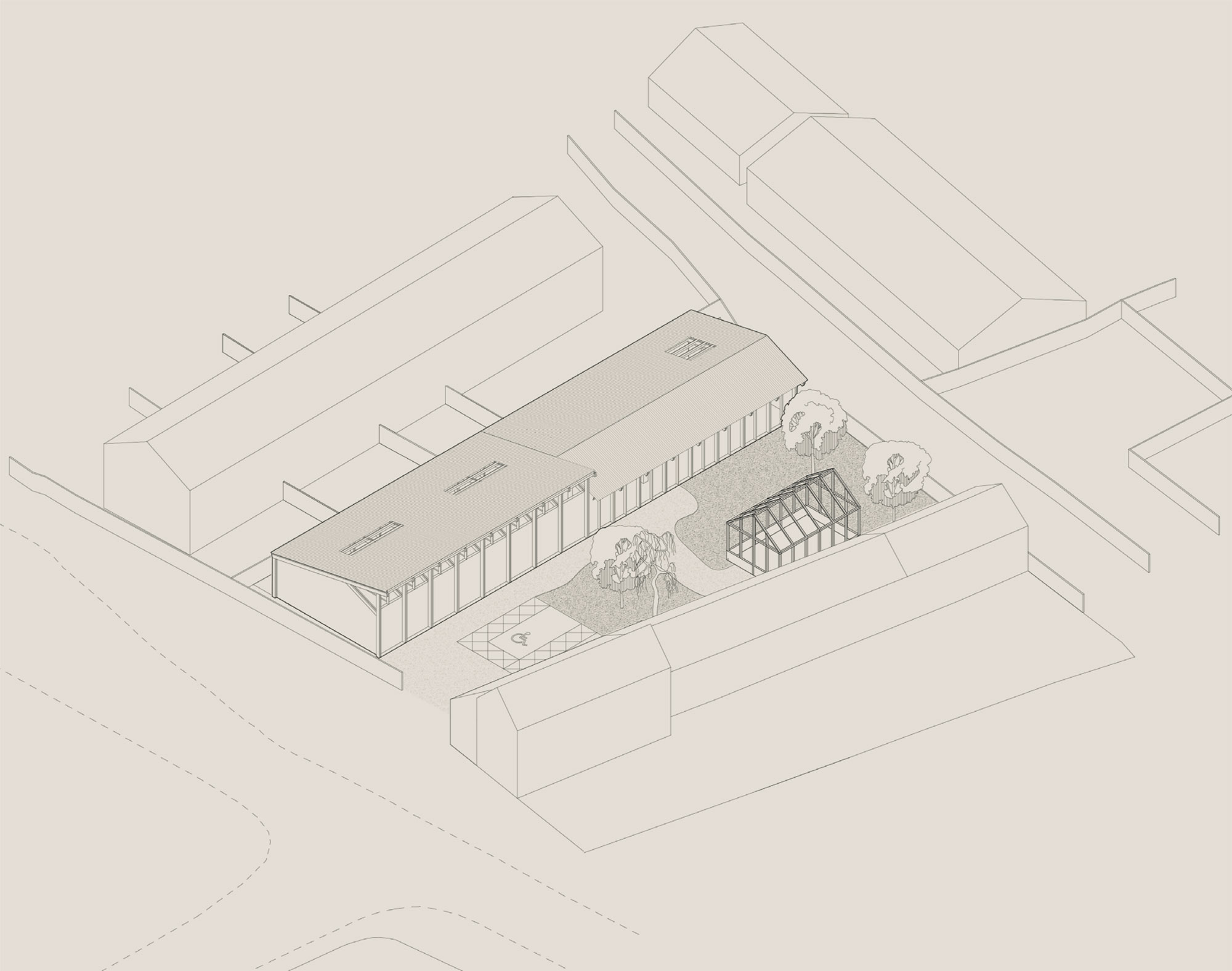 Isometric showing how the building relates to its context.