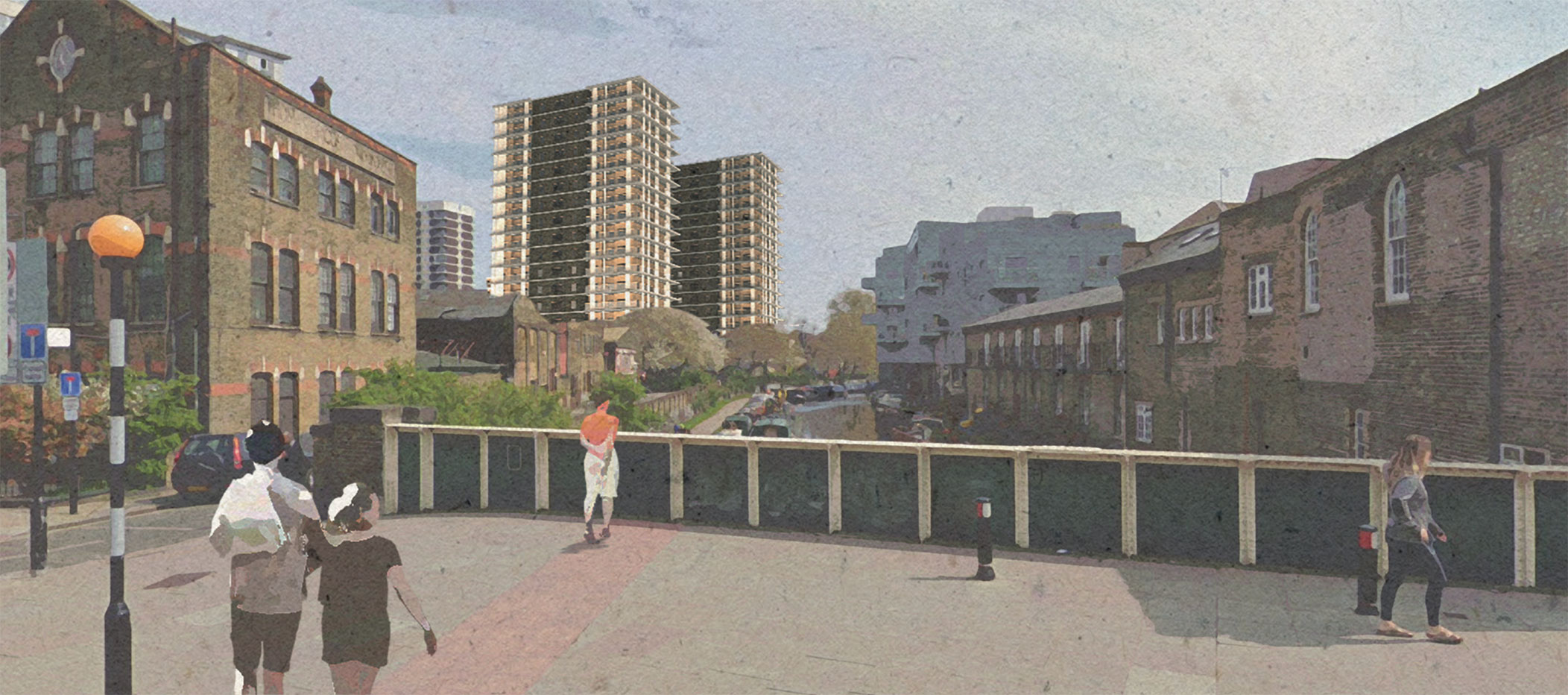 View of the redeveloped towers from Bridport Place Bridge.