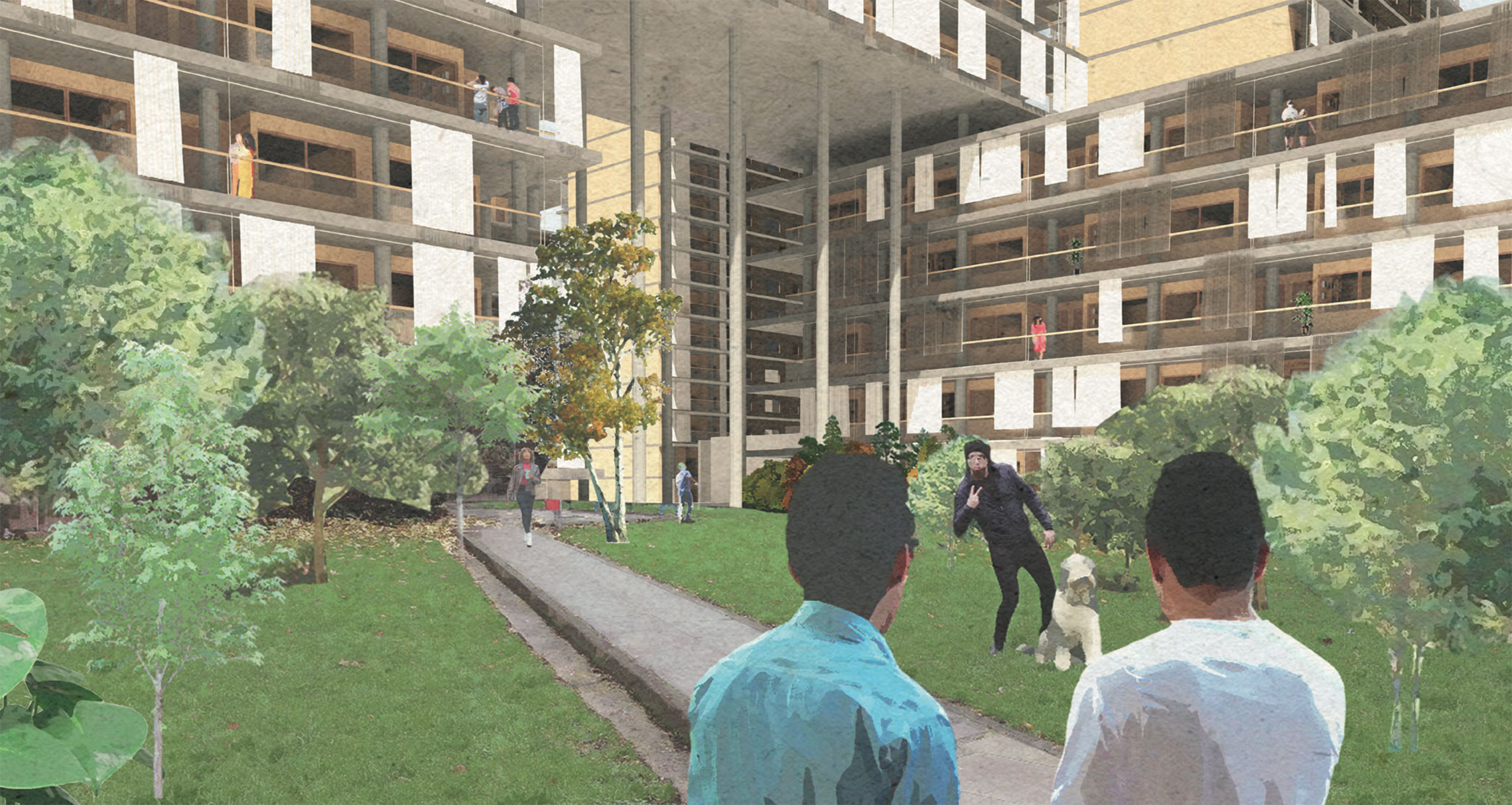 Courtyards have been designed to encourage pedestrians and public life.