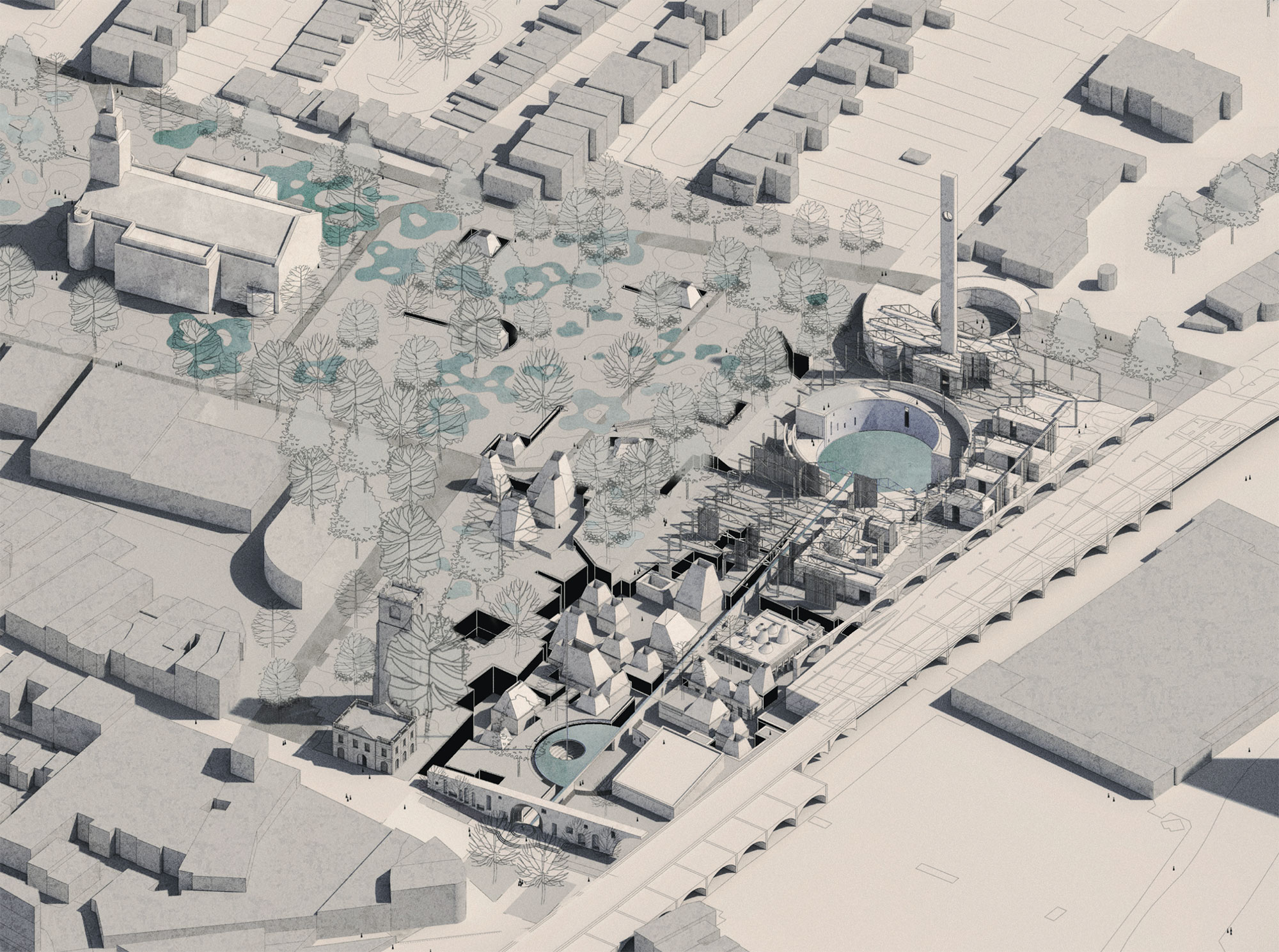Circadian Commons sits moulded into the landscape with the lido on an axis with St John's Church.
