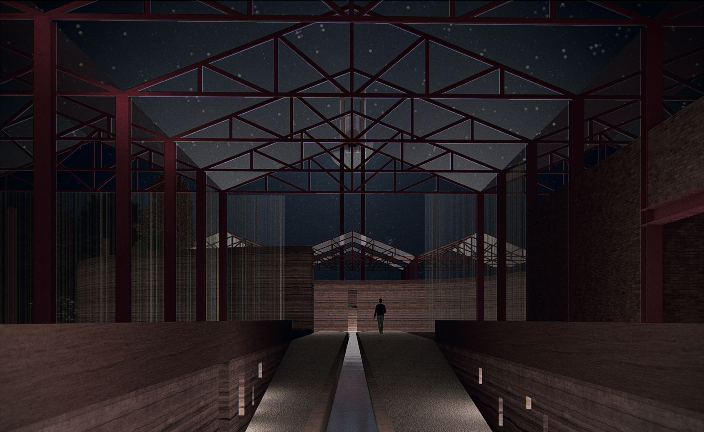 The bus garage frame is covered with mesh allowing for projections of the night sky.