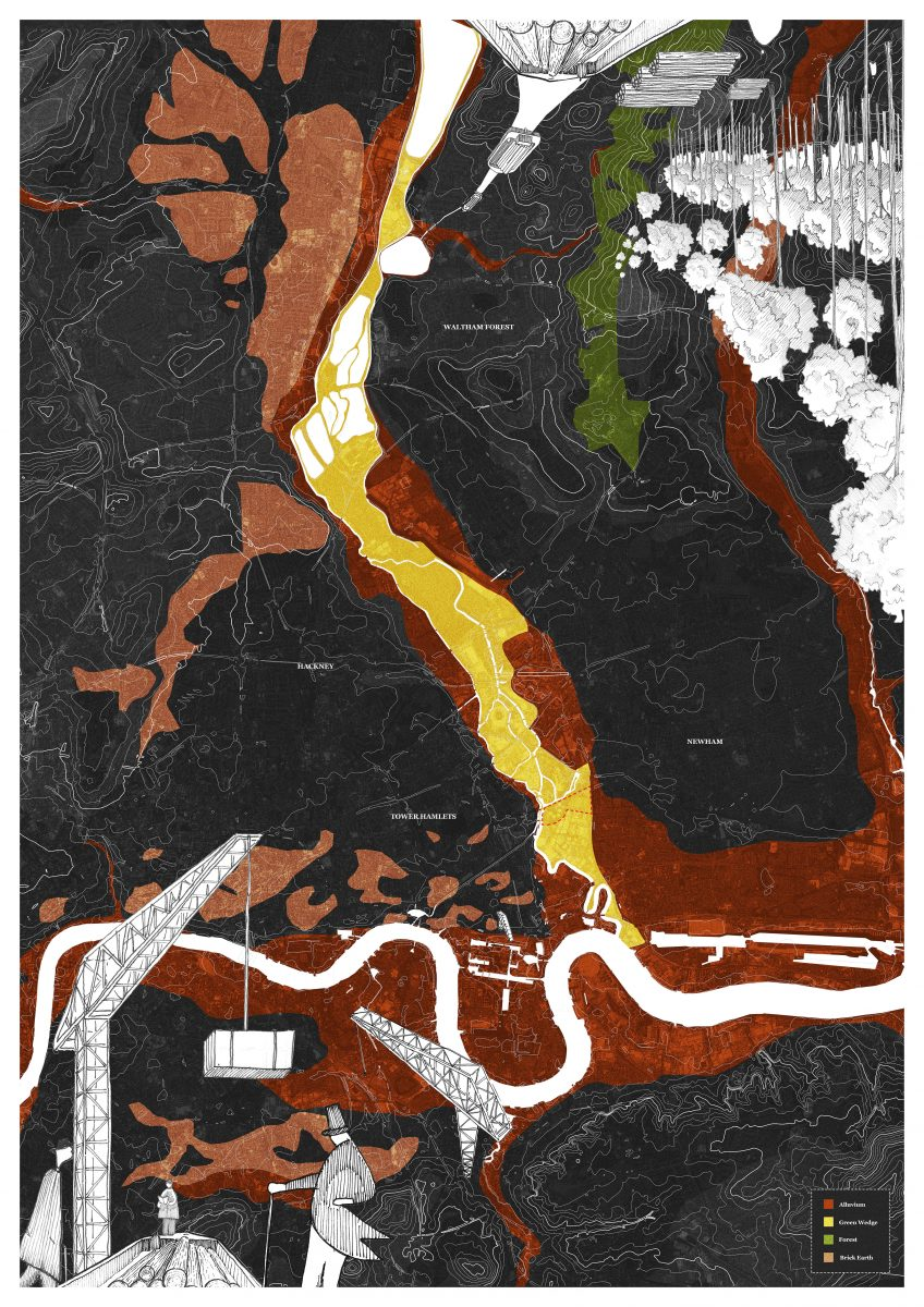 Site Map - The masterplan combines Green Wedge urbanism, with a redevelopment of London's ageing industrial estates. Sustainable forestry schemes and clay deposits on the periphery of the city, become local material sources for a new typology of housing stock.
