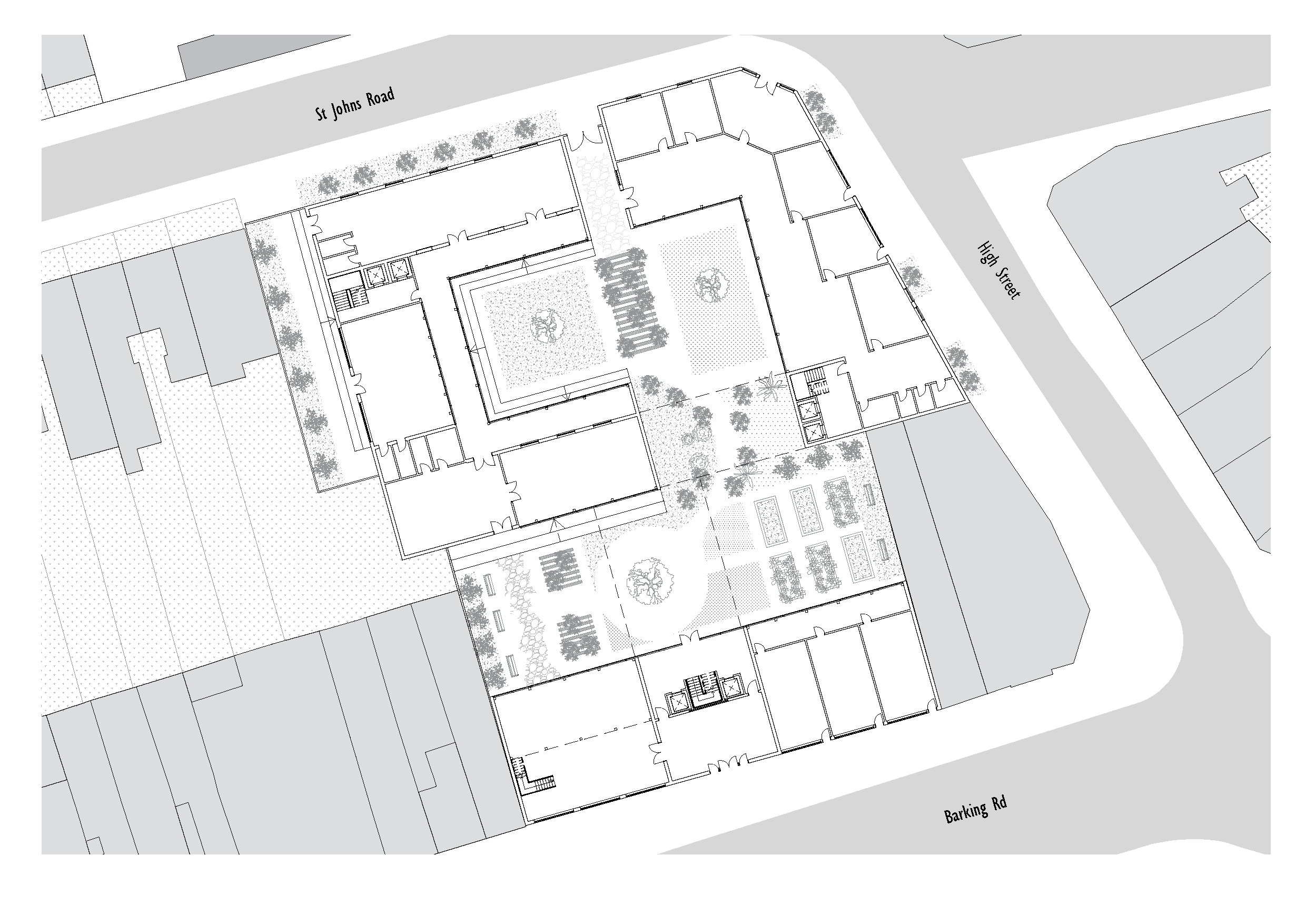 There are a series of intimate courtyards that have different environments allowing for women participating in different activities to take ownership of the space. Uses are clustered around them which allows for visitors and women to always walkthrough or past a garden. Public facilities line the streets edges creating a barrier to more private activities and interaction within the heart of the shelter.