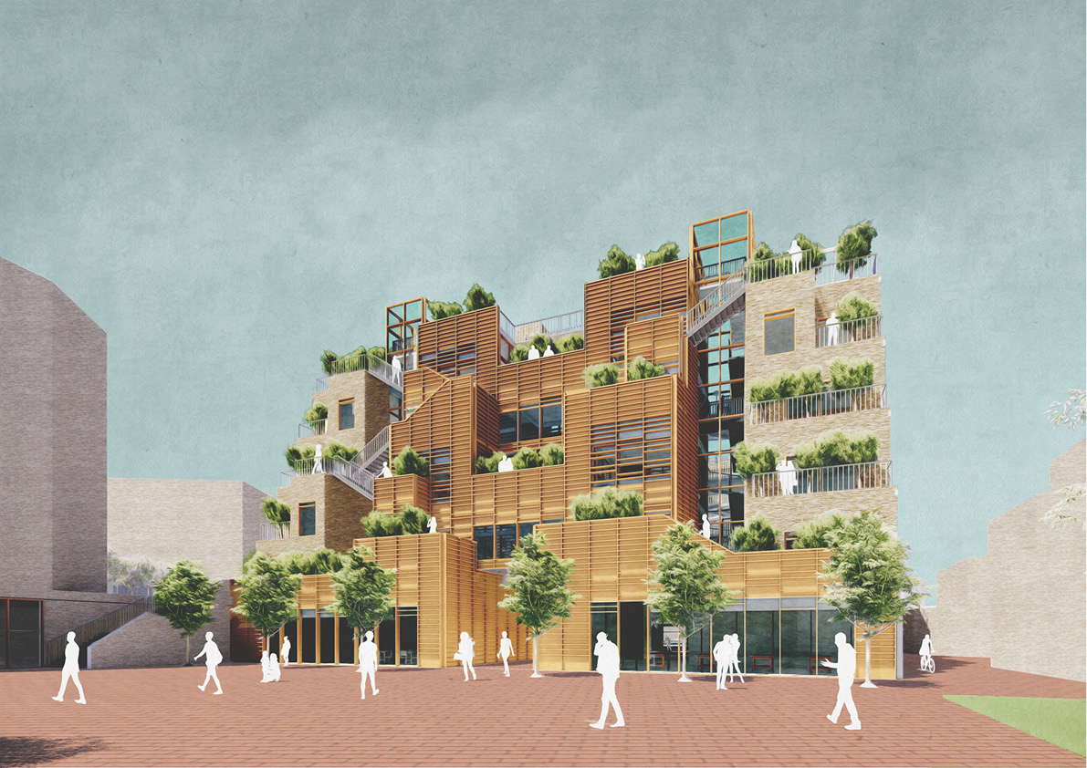The south facade is activated by a series of external routes taking residents from shared spaces to the roof terraces. Shared spaces are clad in semi-transparent timber and glass, while more private spaces are shielded with opaque brickwork.