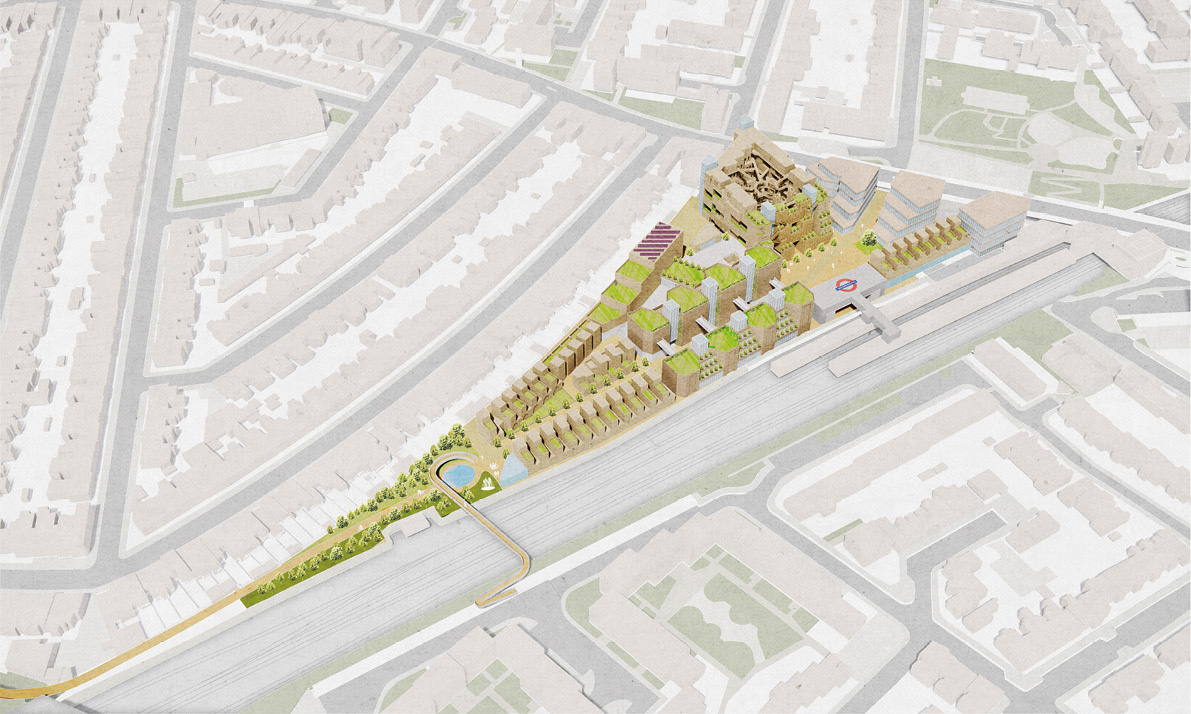Public-facing uses including a new entrance to Plaistow Station and the shelter are located to the East, with more private residential to the West. Pedestrian and cycle routes connect the site to the Greenway and beyond.