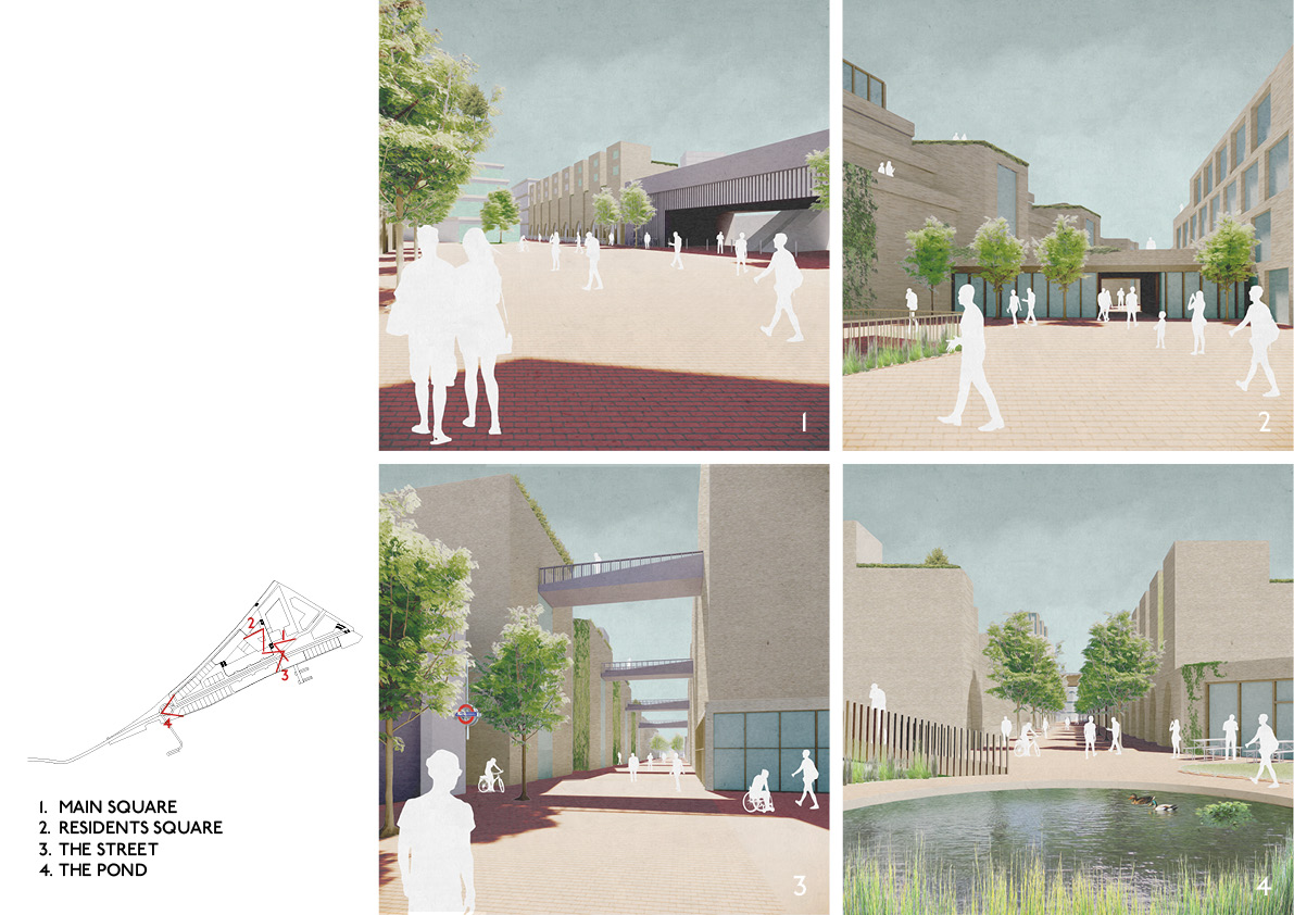 The masterplan has been split into a series of different public and semi-private spaces, allowing residents and visitors to mix freely in a variety of different environments.