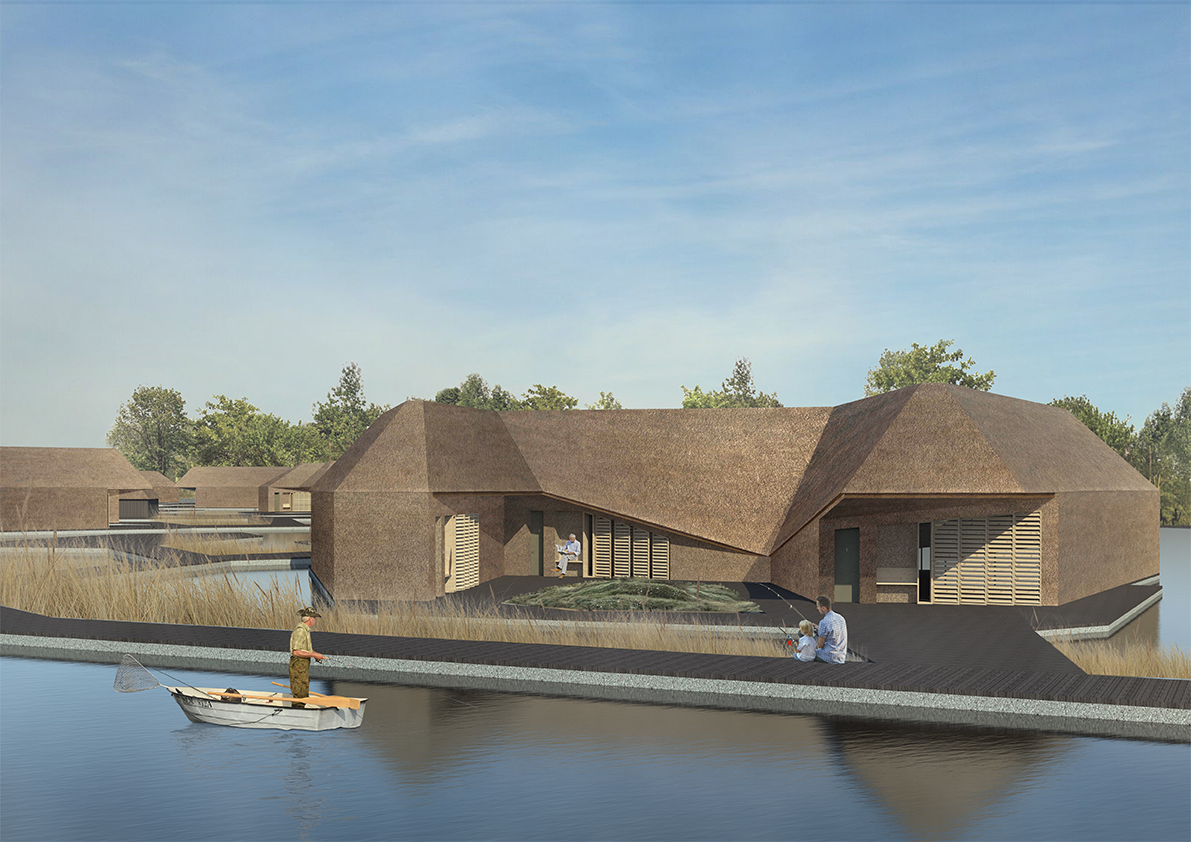 The floating housing is surrounded by water, a cluster of small islands hidden among the reedbeds. Pockets of shared space are formed in the centre.