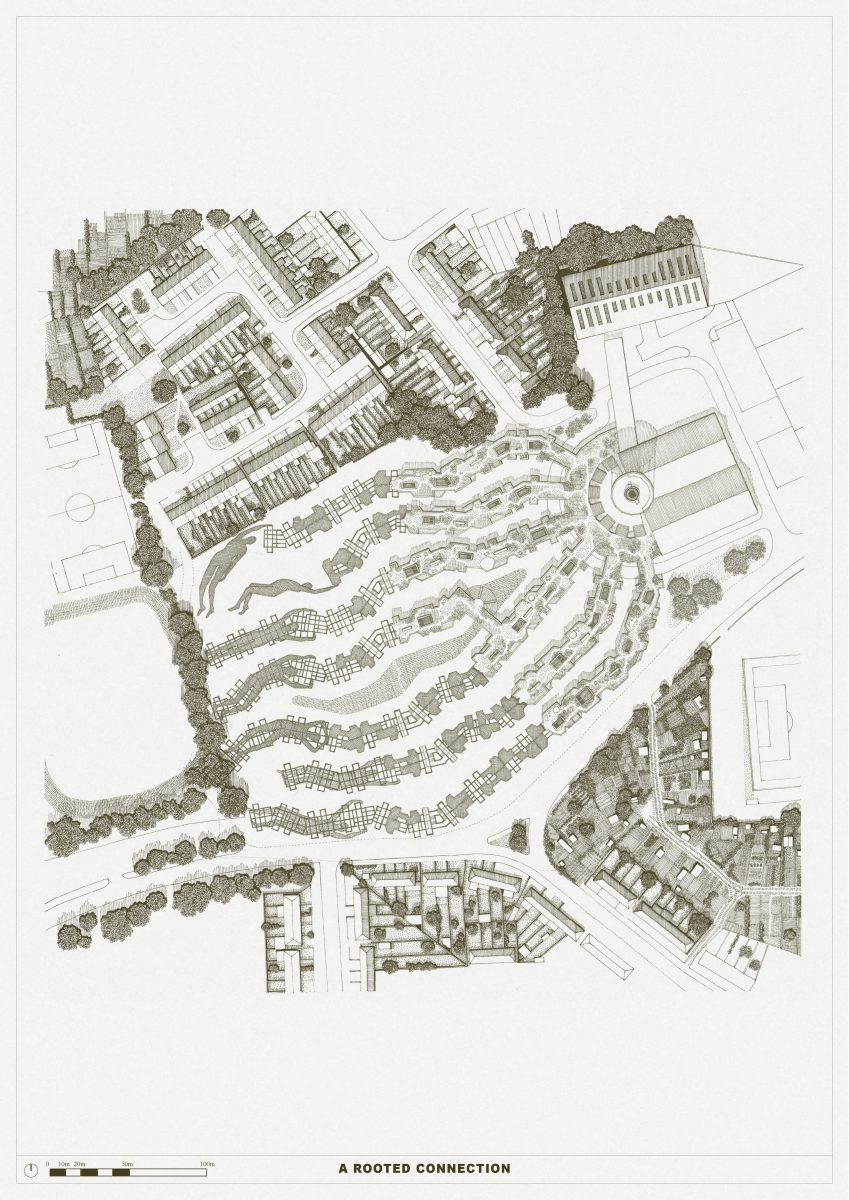 The Conscious Homes of East Haringey grow, creating trailing streets, shifting in form and figuration, aiding gatherings and encouraging play. A hemp crop accompanies the homes on a roof-top park and is celebrated through the use of plant-based building materials.