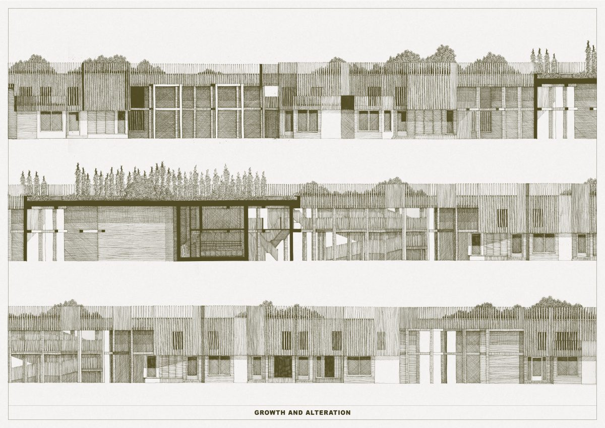 Patterns for a range of family homes create a varied street elevation of alcoves, overhangs and terraces.