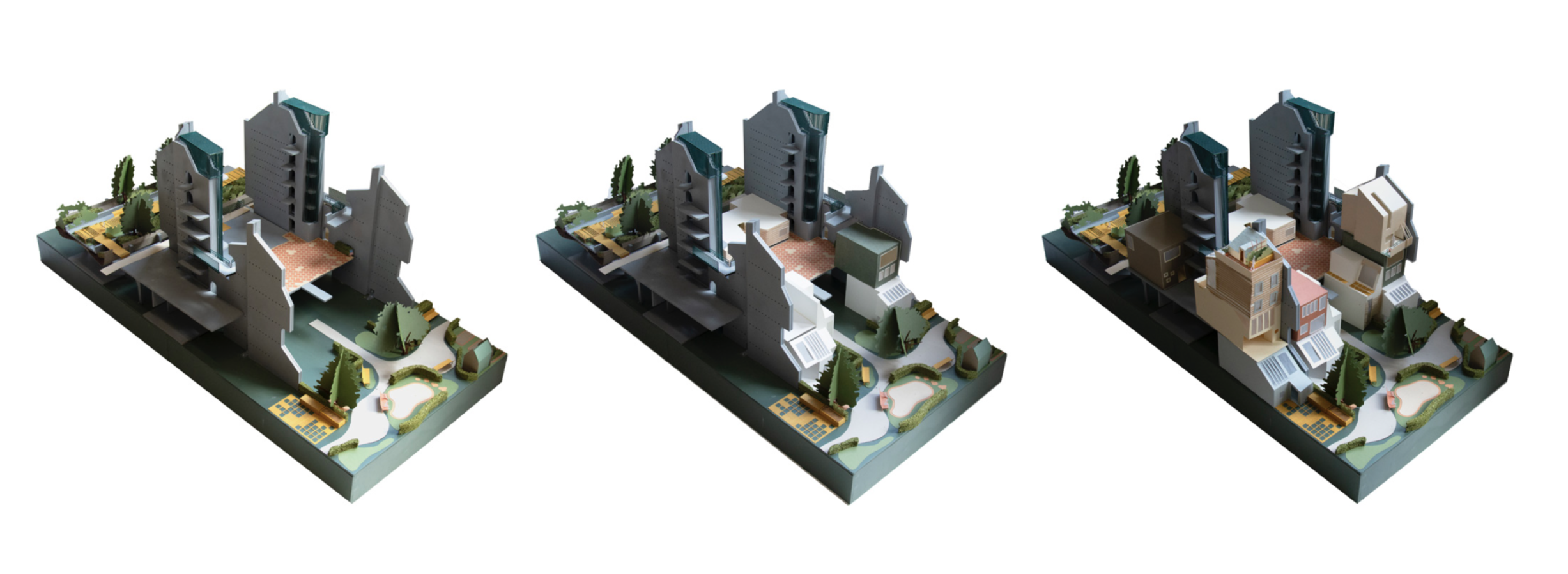Models illustrating the concept of party walls infilled with user-modified housing blocks.