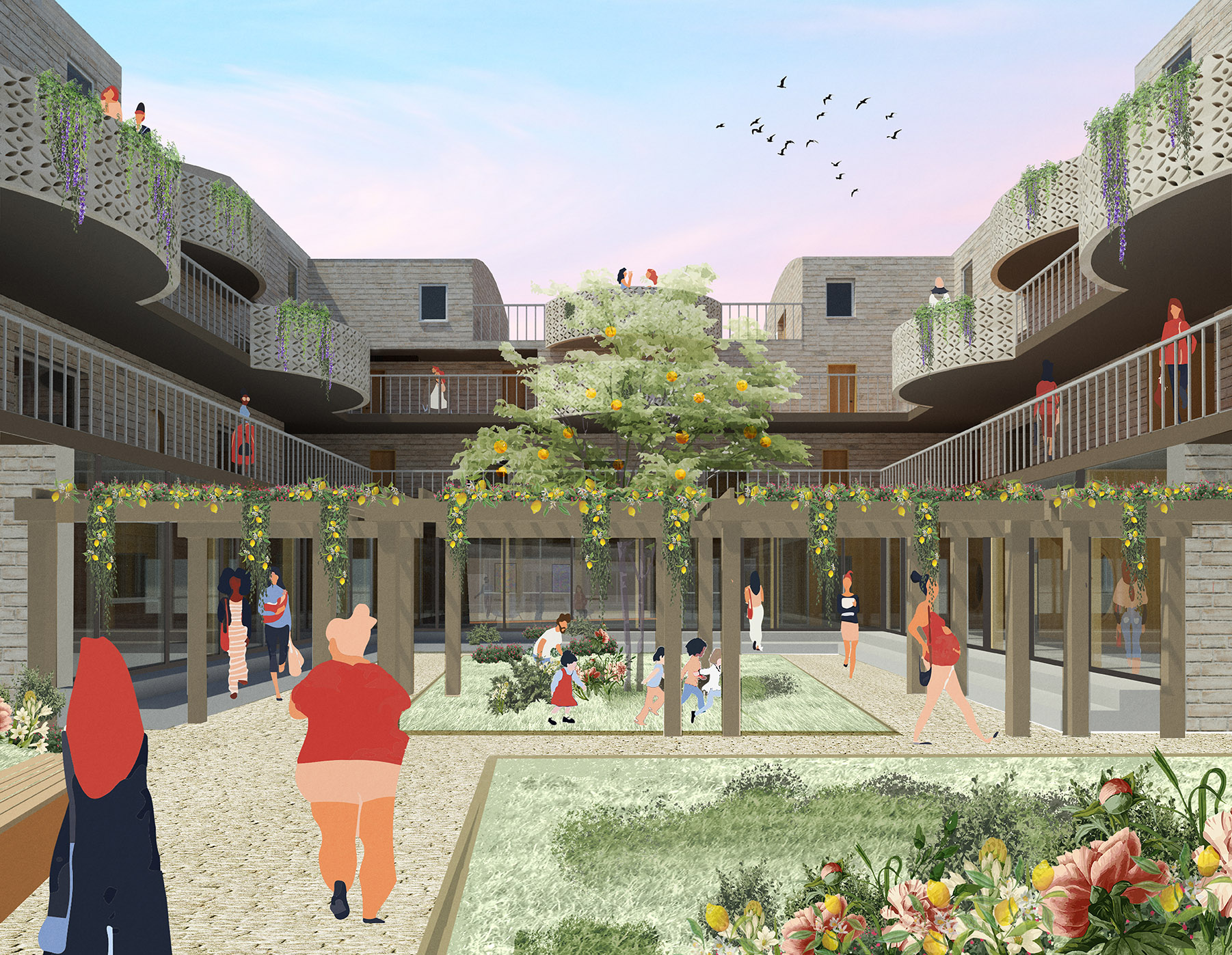 The courtyard provides a safe and welcoming enclosure for women and children - creating a heart to the shelter and encouraging interaction.