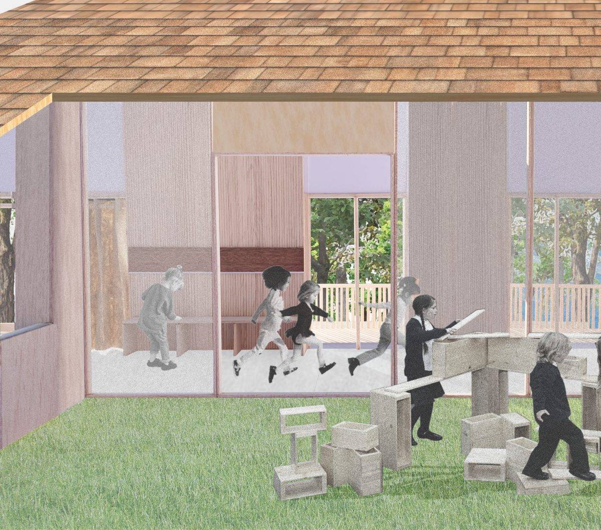 Mirrored indoor and outdoor learning spaces.