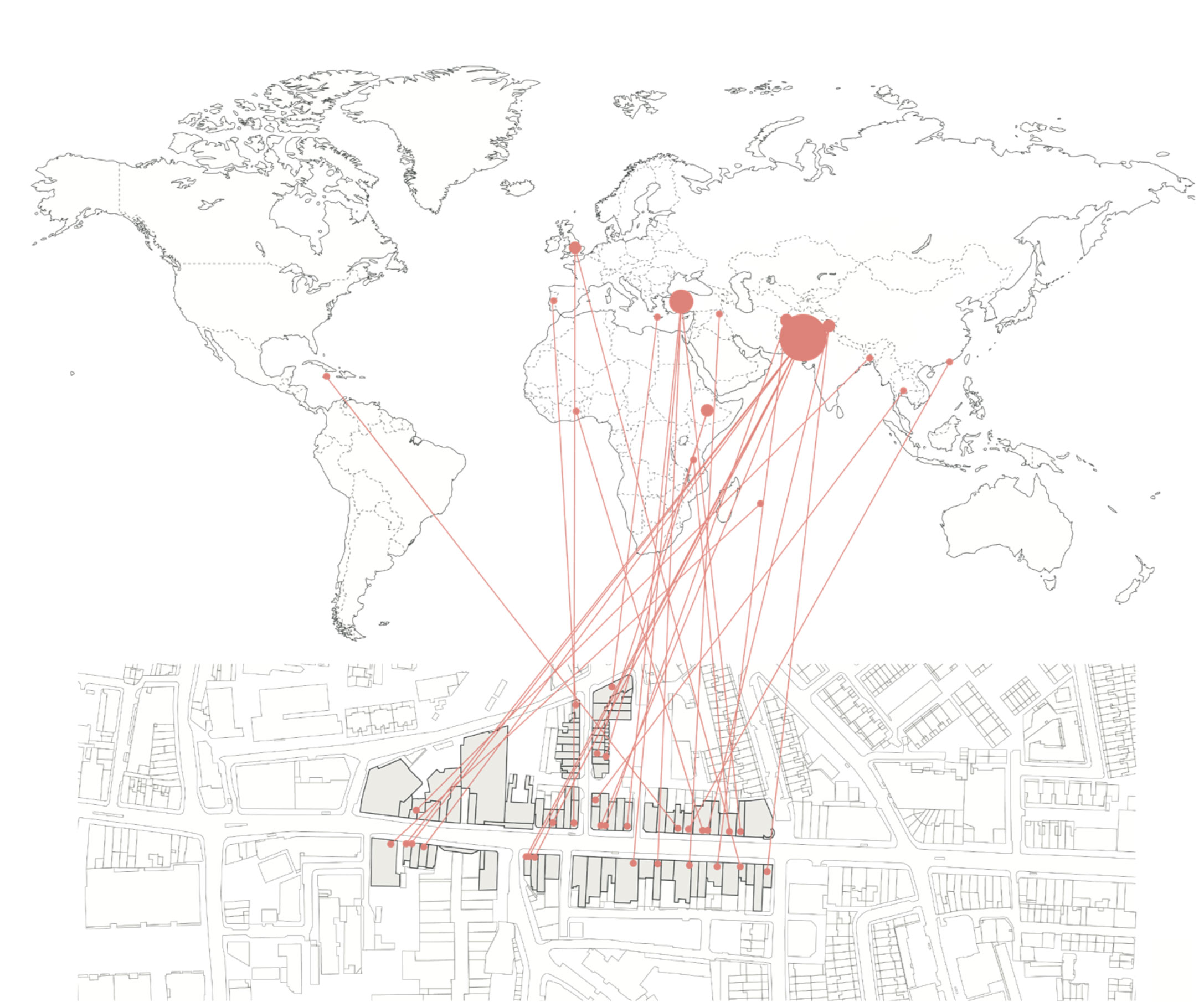 Diagram showing the range of countries represented by businesses within a three-minute walk.