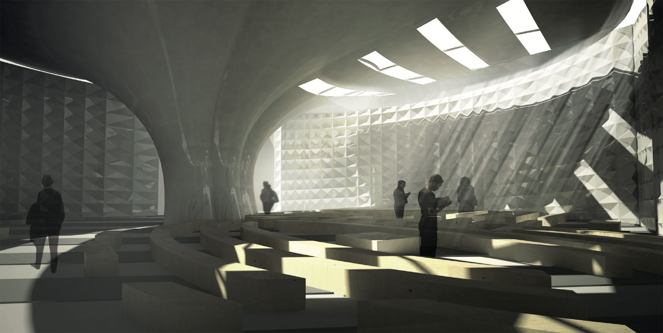 The interior focuses on elements that are important to all three faiths such as the use of natural light.